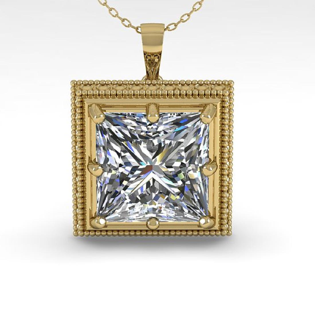 1 CTW VS/SI Princess Diamond Solitaire Necklace 14K - 2