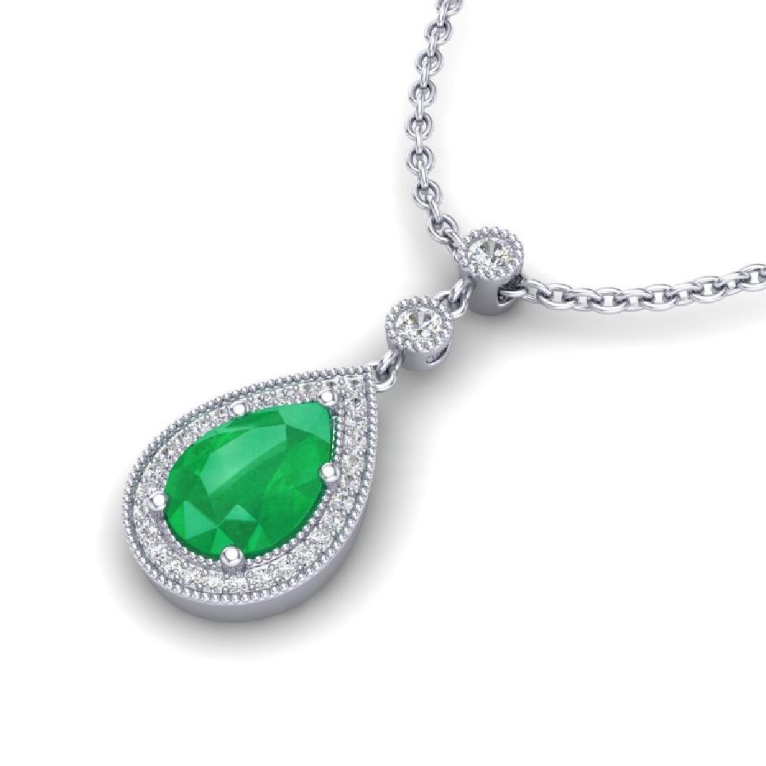 2.75 CTW Emerald & Micro Pave VS/SI Diamond Necklace