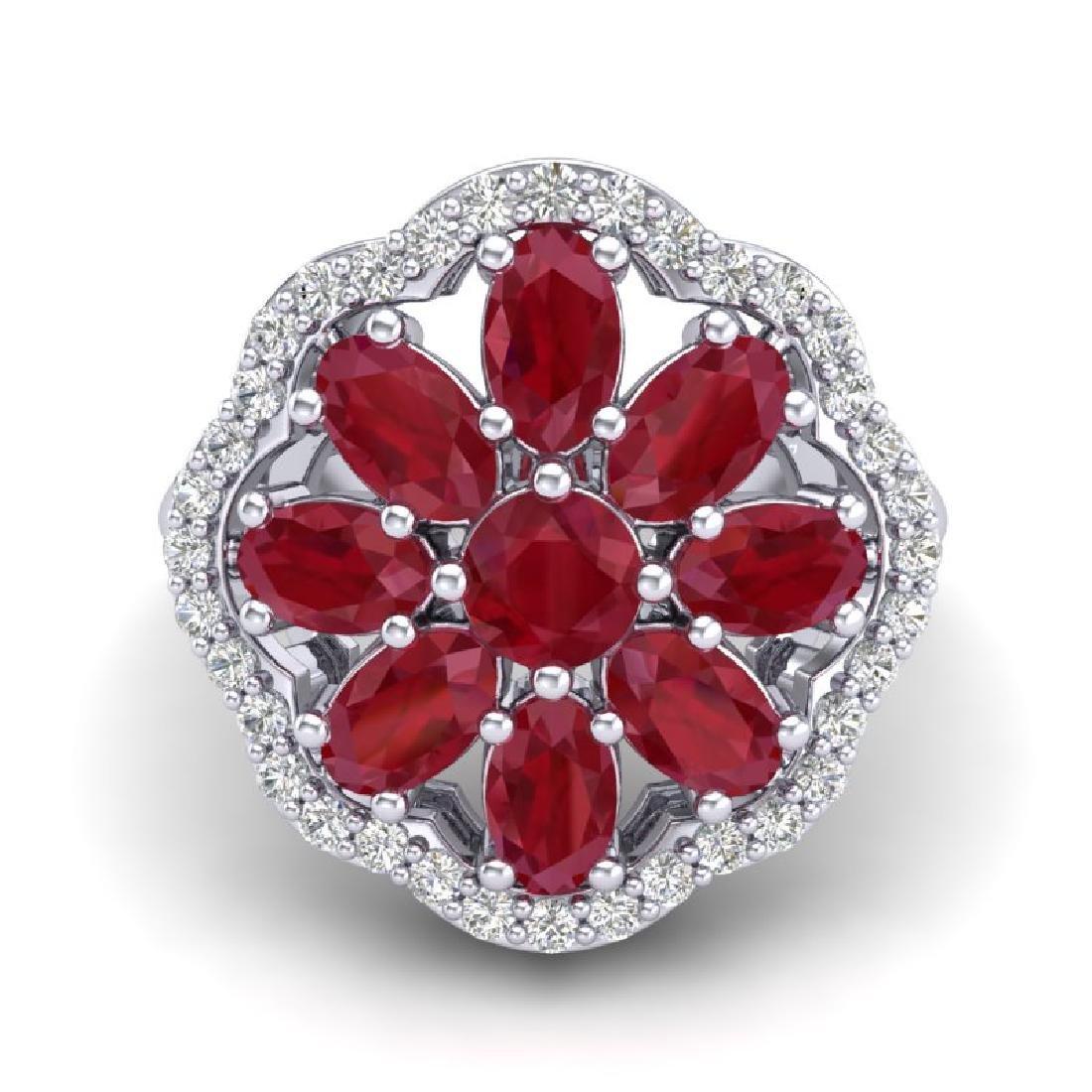 4 CTW Ruby & VS/SI Diamond Cluster Designer Halo Ring - 2