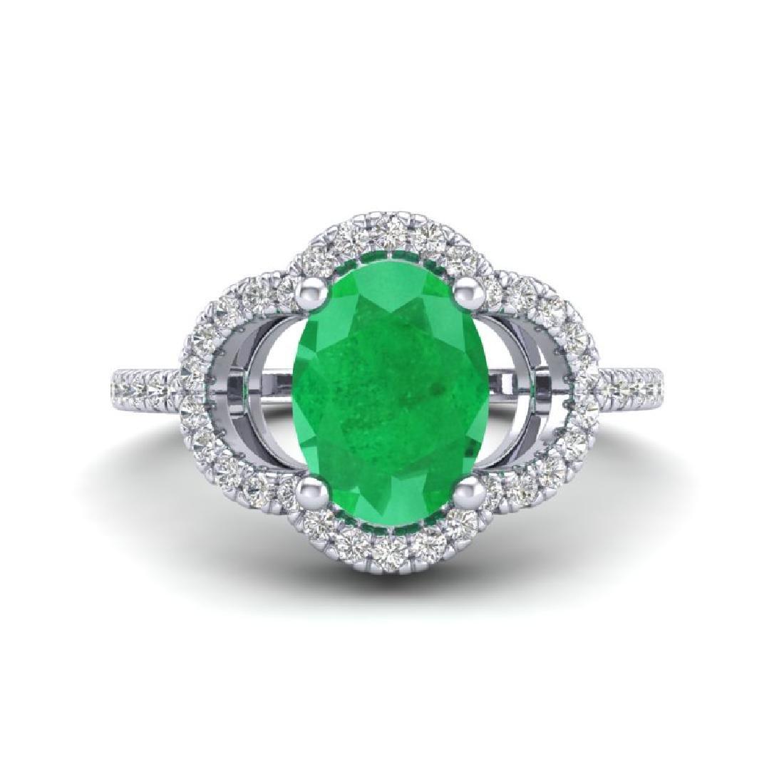 2 CTW Emerald & Micro Pave VS/SI Diamond Ring 10K White