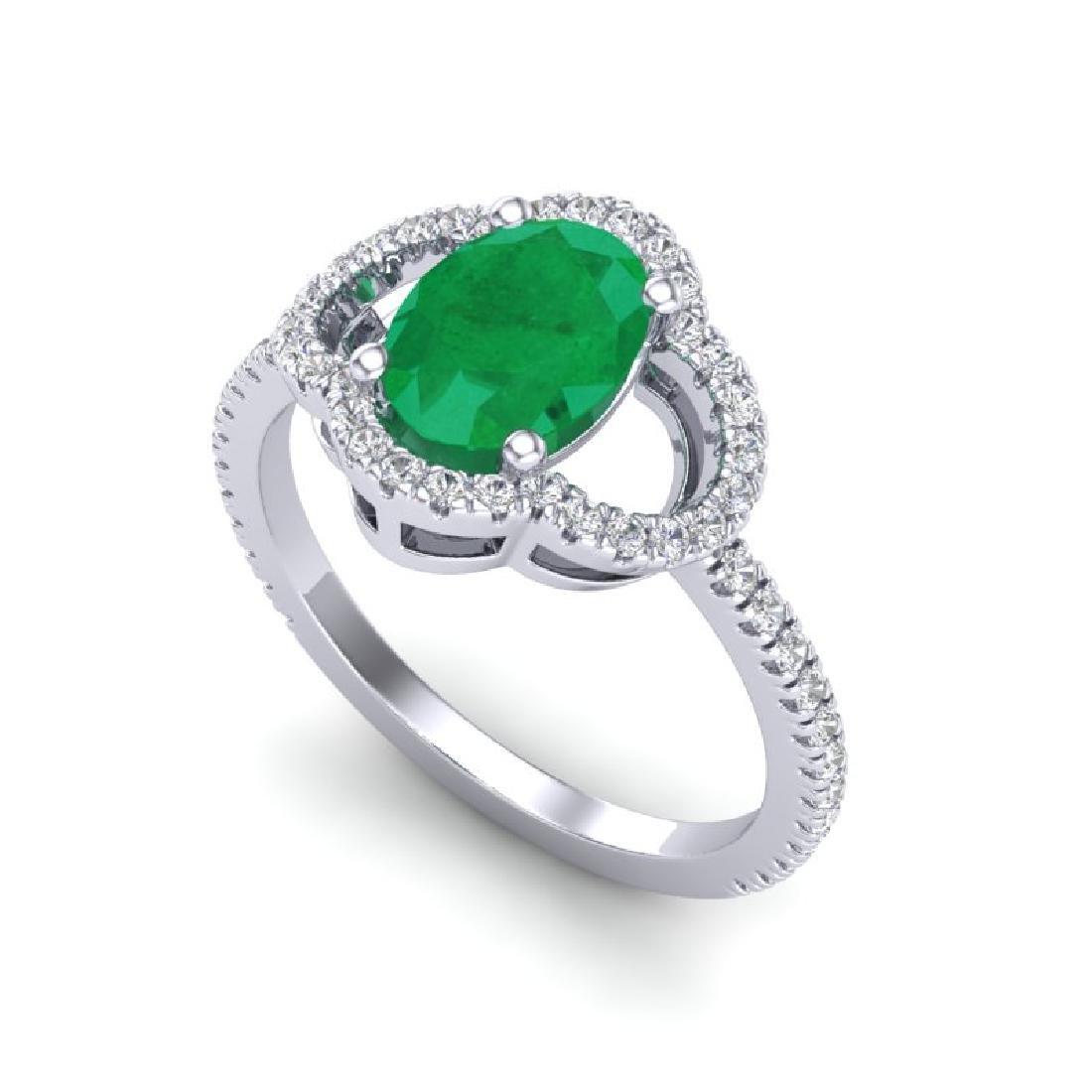 2 CTW Emerald & Micro Pave VS/SI Diamond Ring 10K White - 2