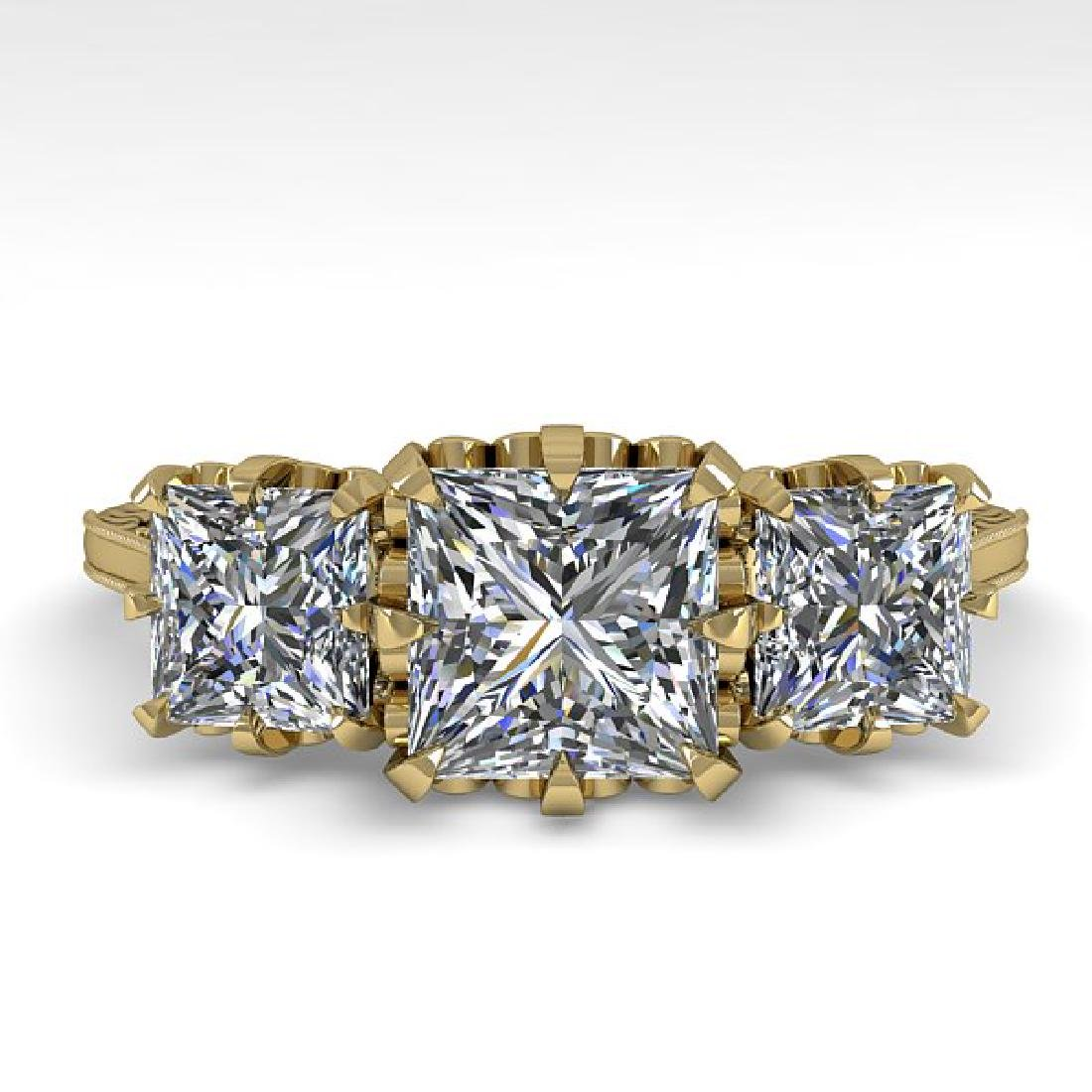 2 CTW Certified VS/SI Princess Diamond 14K Yellow Gold