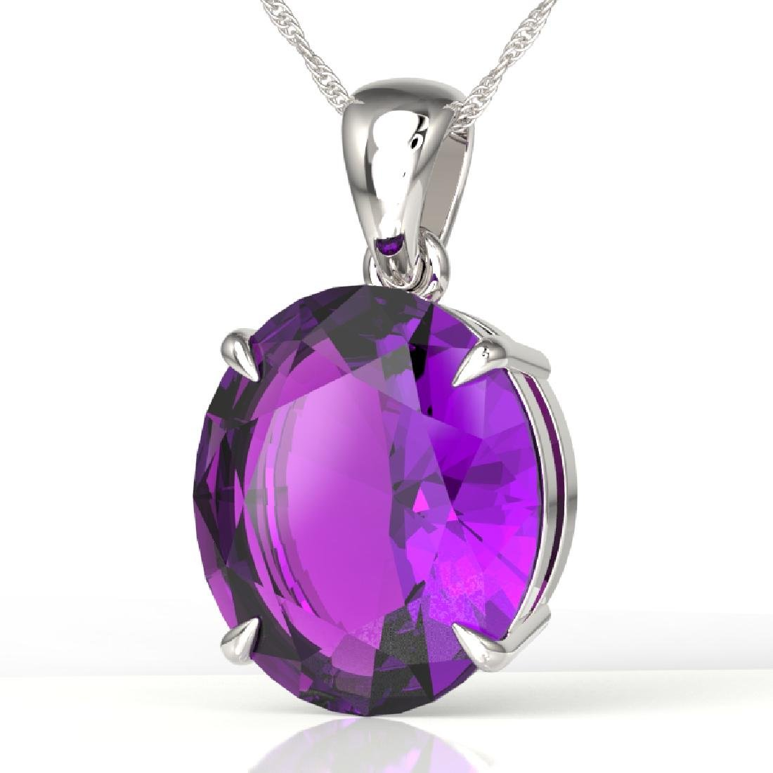 9 CTW Amethyst Designer Solitaire Necklace 18K White
