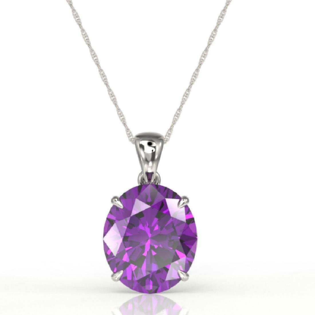 9 CTW Amethyst Designer Solitaire Necklace 18K White - 2