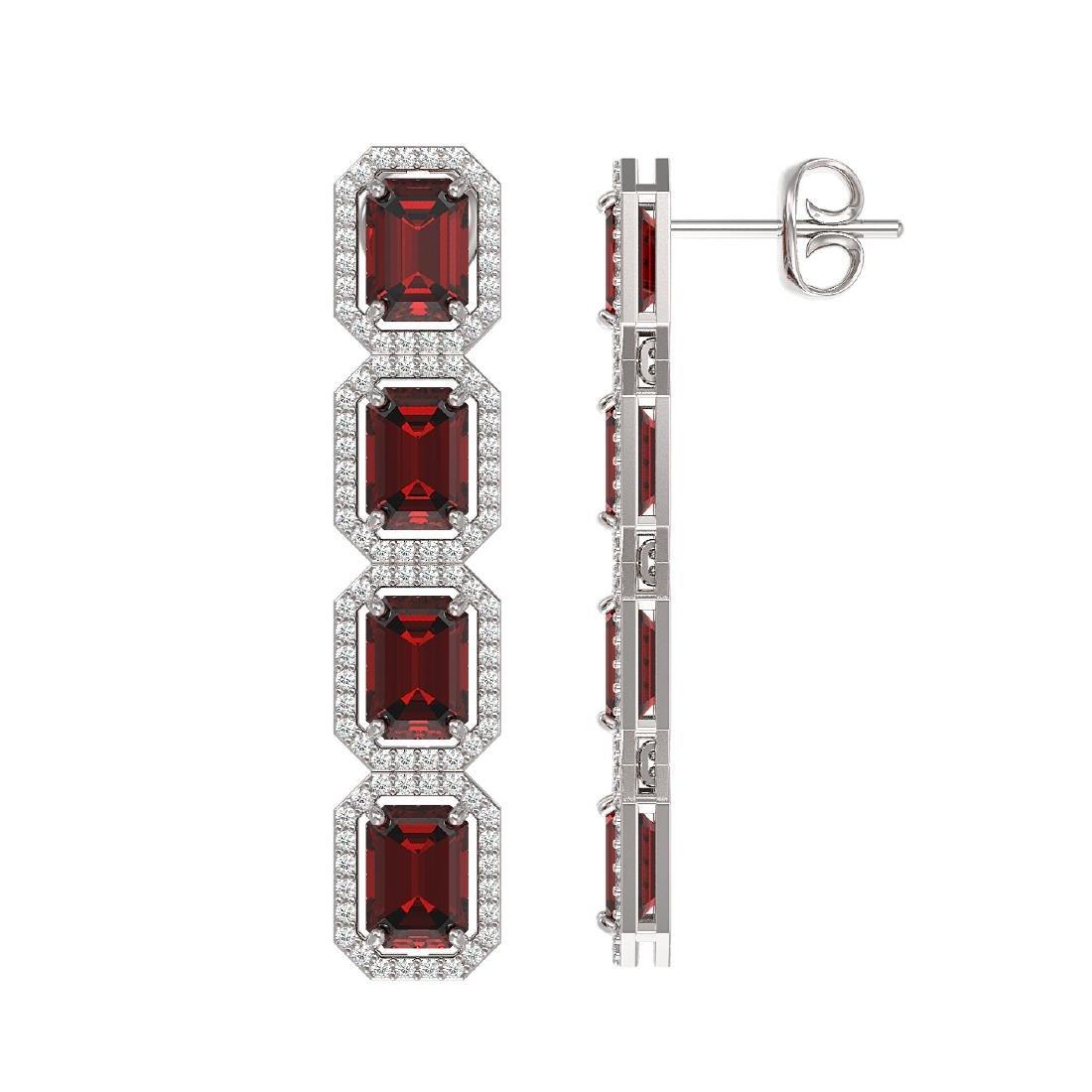 12.73 CTW Garnet & Diamond Halo Earrings 10K White Gold - 2