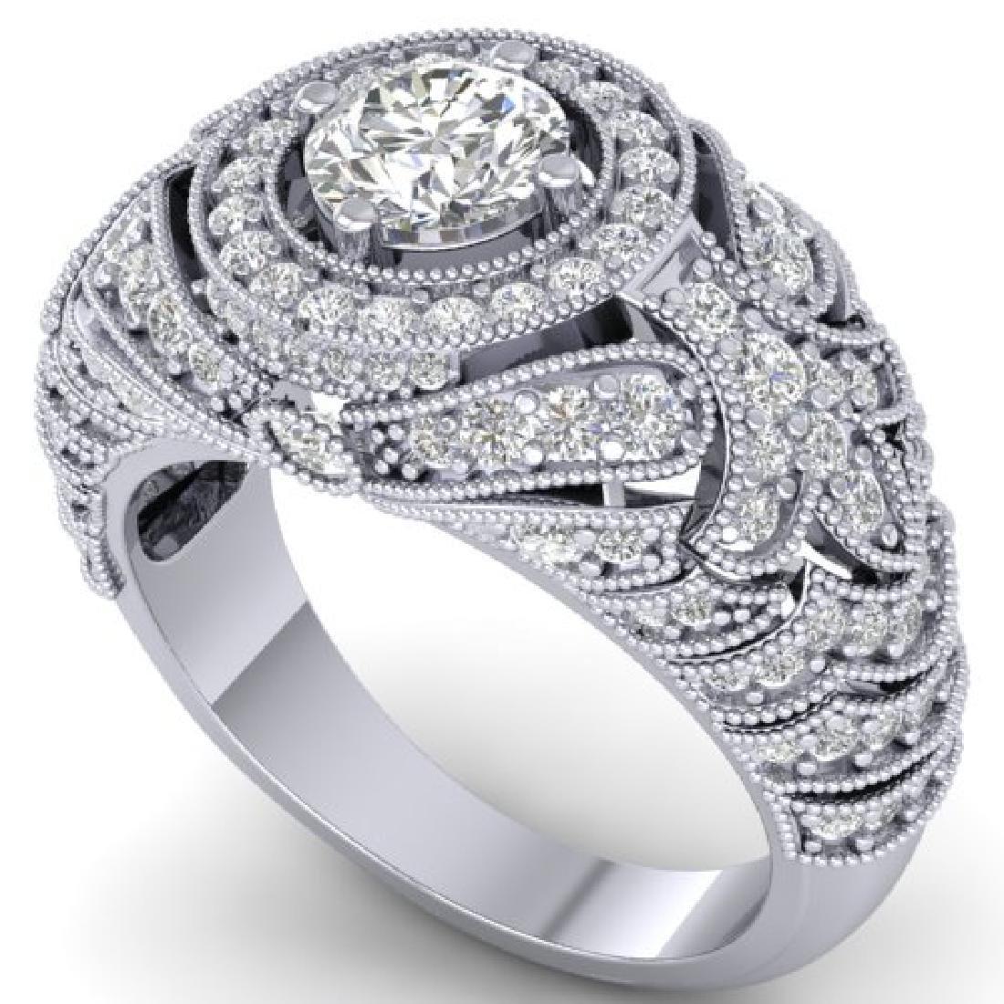 2.35 CTW Certified VS/SI Diamond Art Deco Halo Ring 18K - 2
