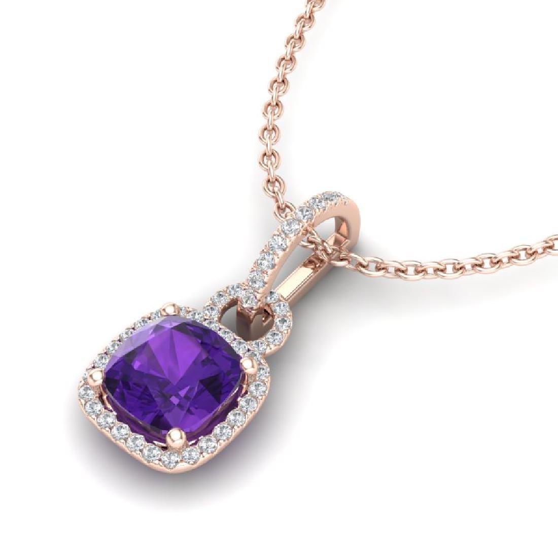 3.50 CTW Amethyst & Micro VS/SI Diamond Necklace 14K