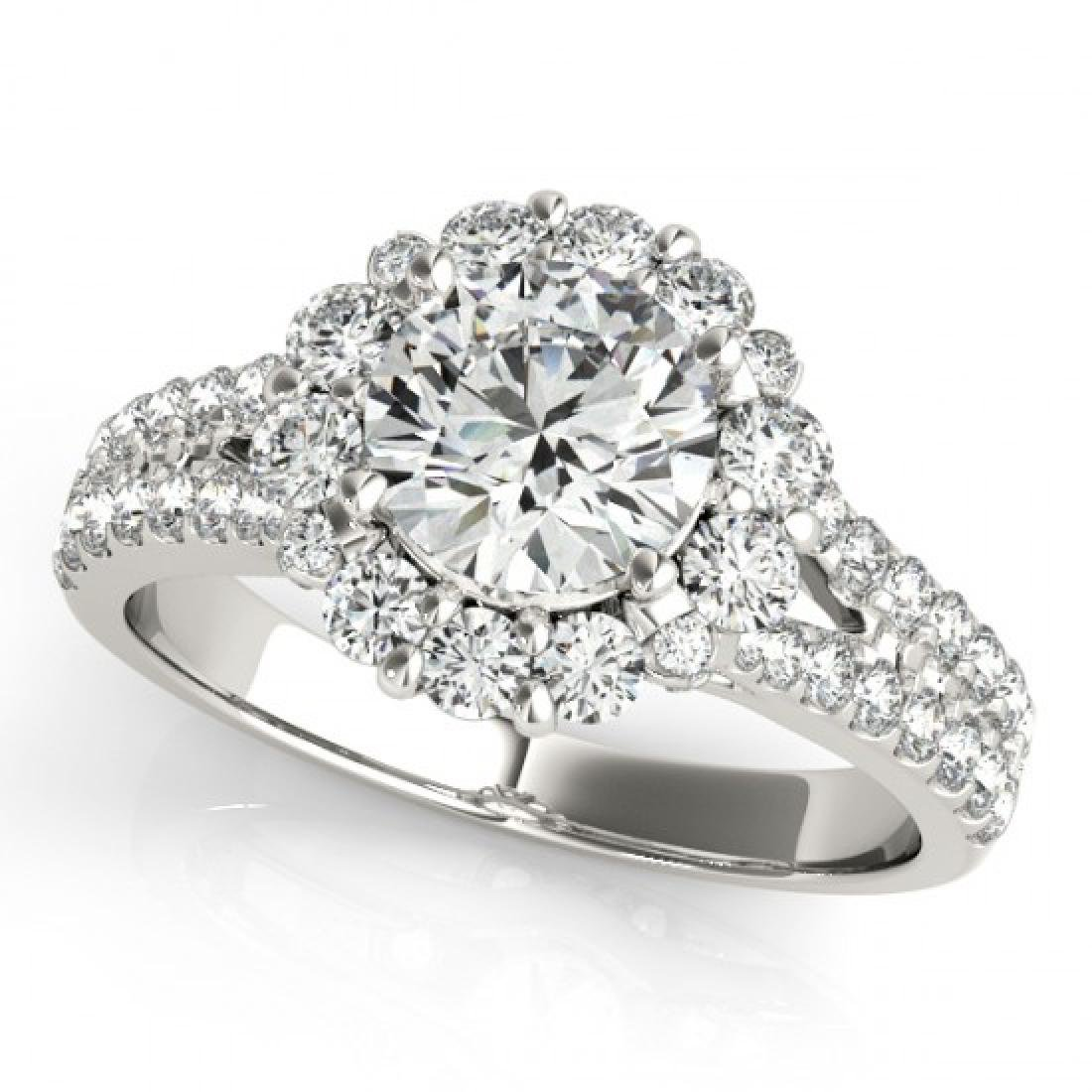 1.76 CTW Certified VS/SI Diamond Solitaire Halo Ring