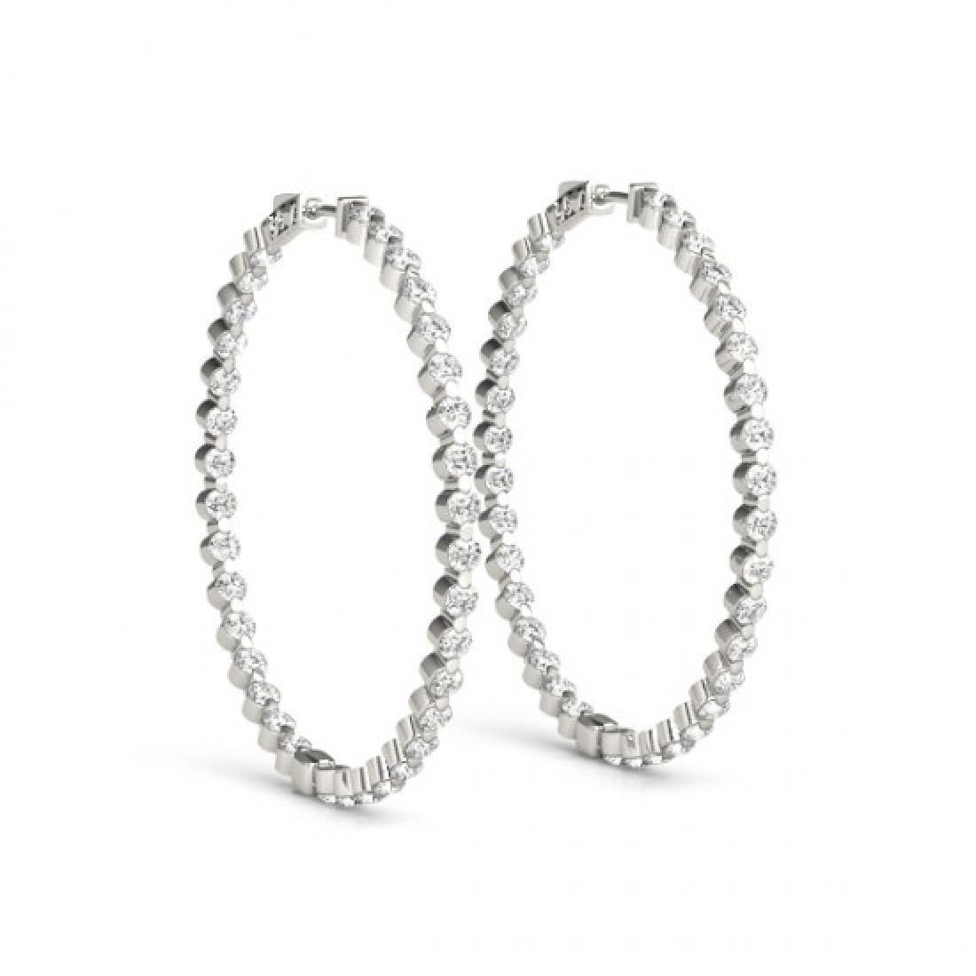4.25 CTW Diamond VS/SI Certified 50 Mm Hoop Earrings - 2