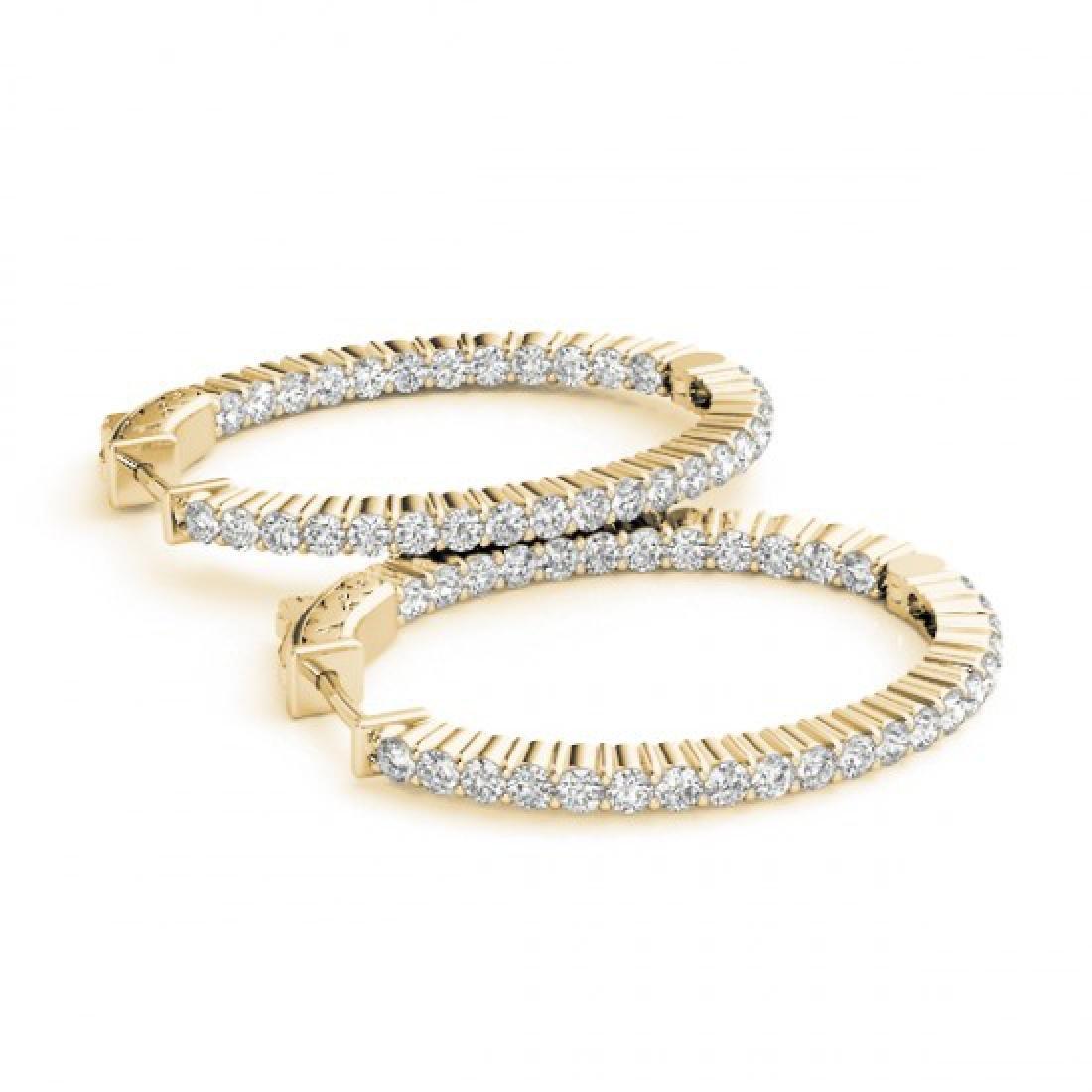 3 CTW Diamond VS/SI Certified 33 Mm Hoop Earrings 14K