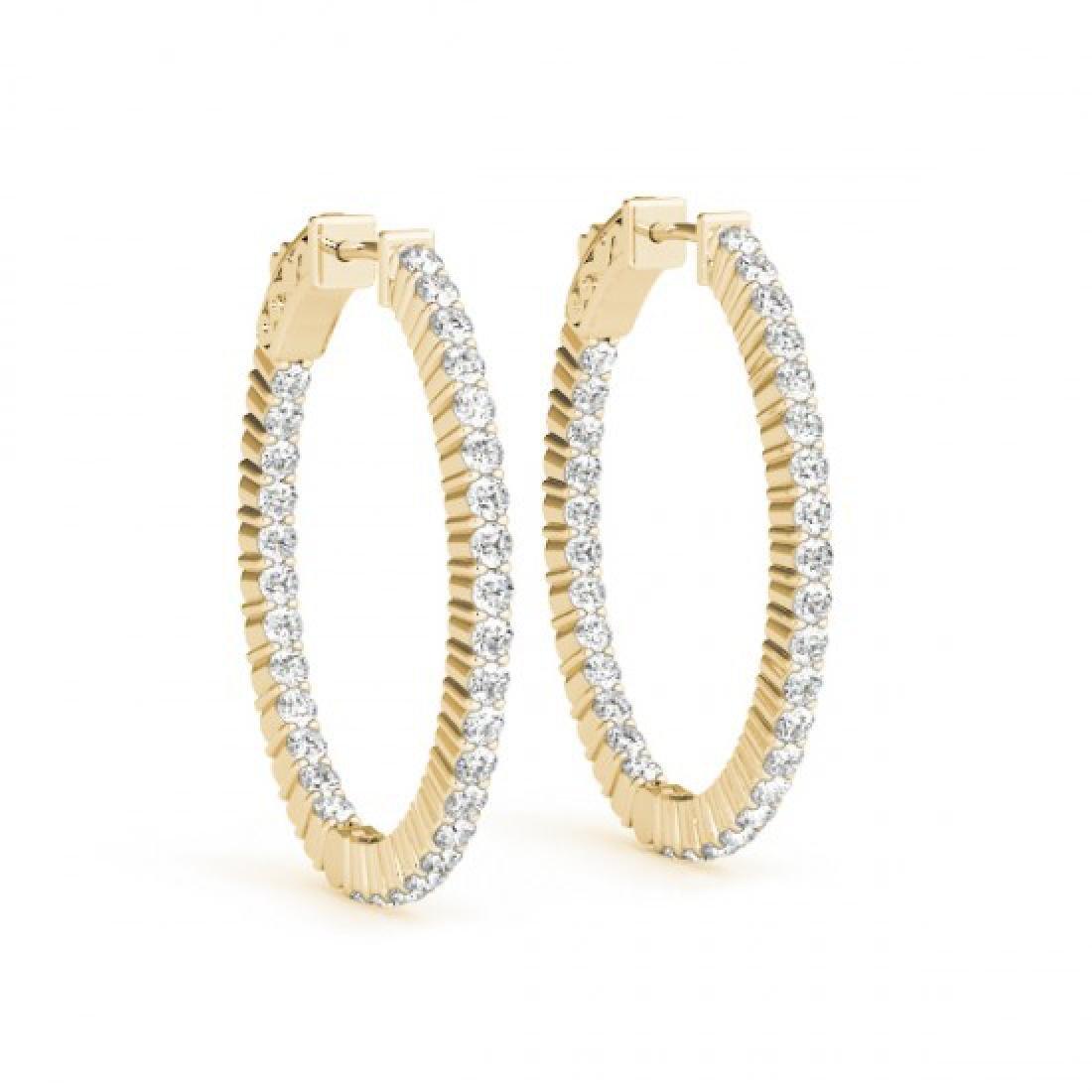 3 CTW Diamond VS/SI Certified 33 Mm Hoop Earrings 14K - 2