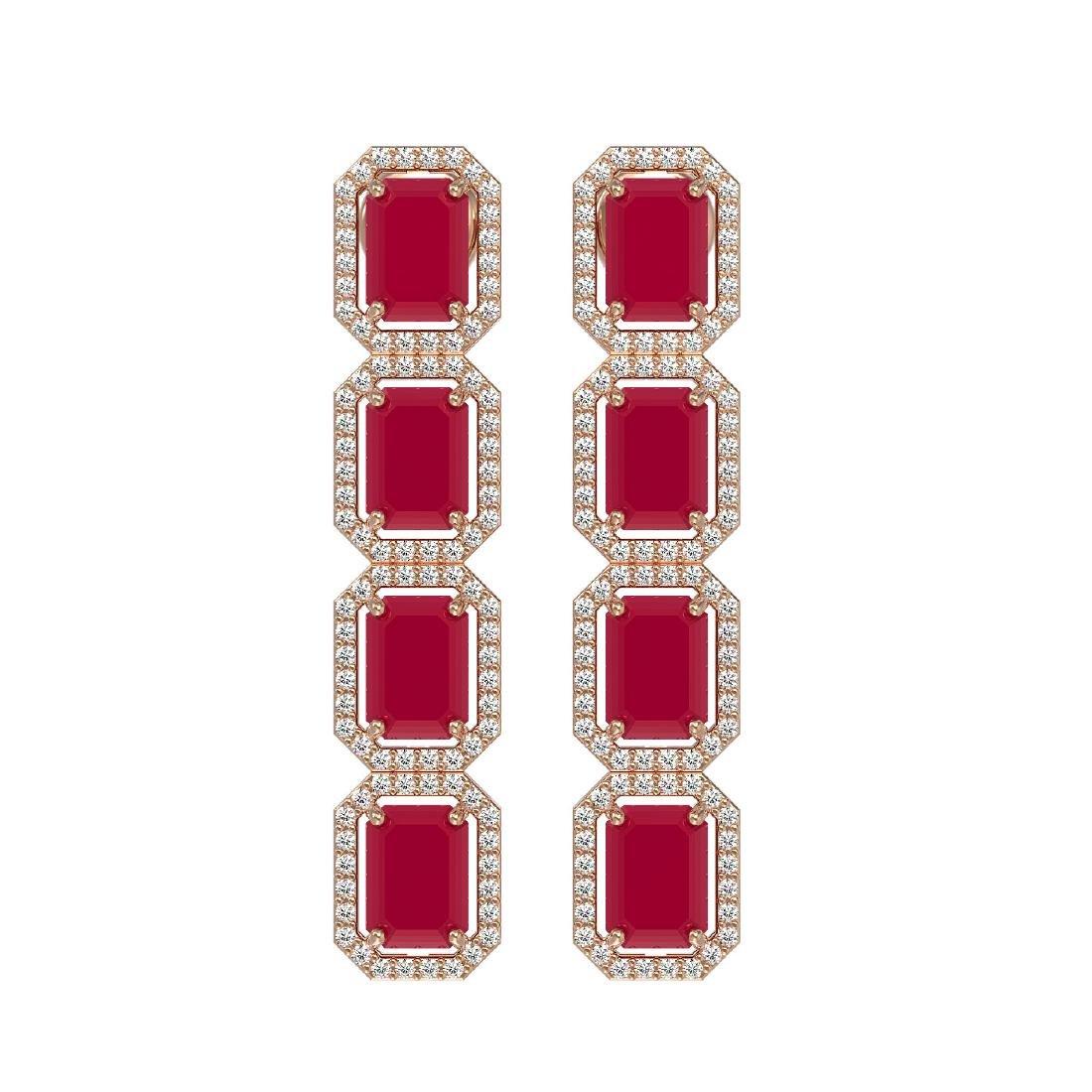 12.33 CTW Ruby & Diamond Halo Earrings 10K Rose Gold