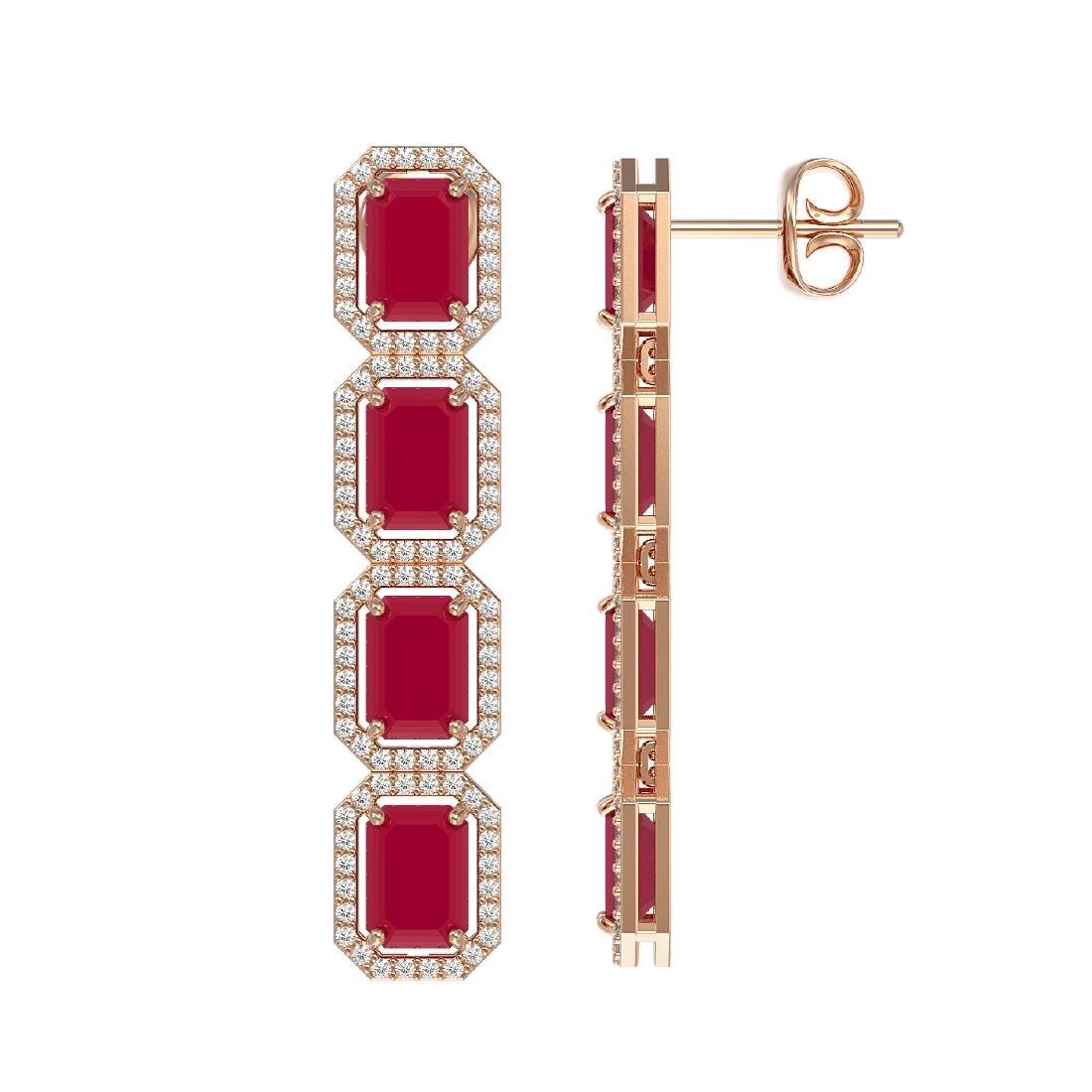 12.33 CTW Ruby & Diamond Halo Earrings 10K Rose Gold - 2
