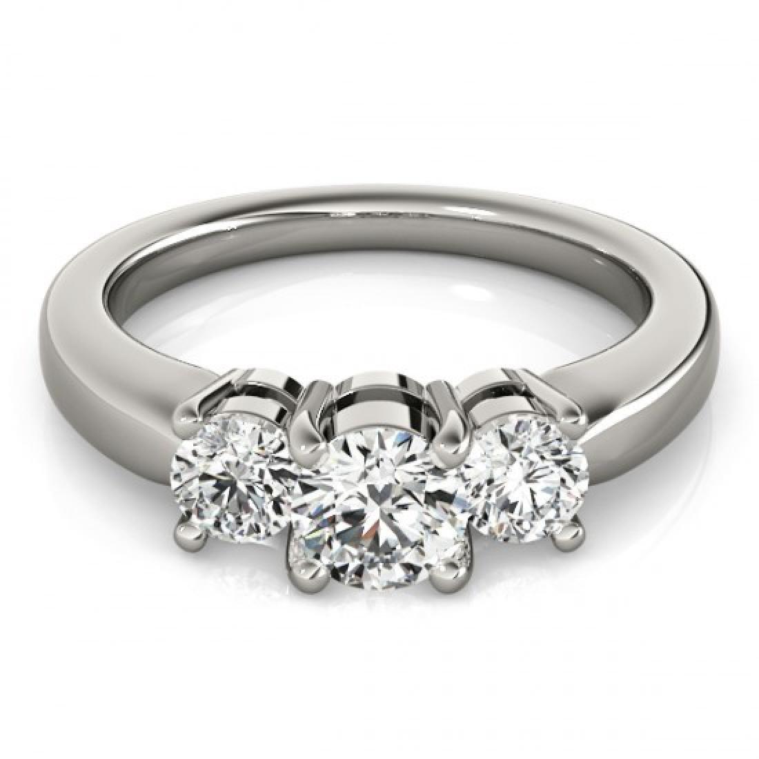 1.33 CTW Certified VS/SI Diamond 3 Stone Ring 14K White