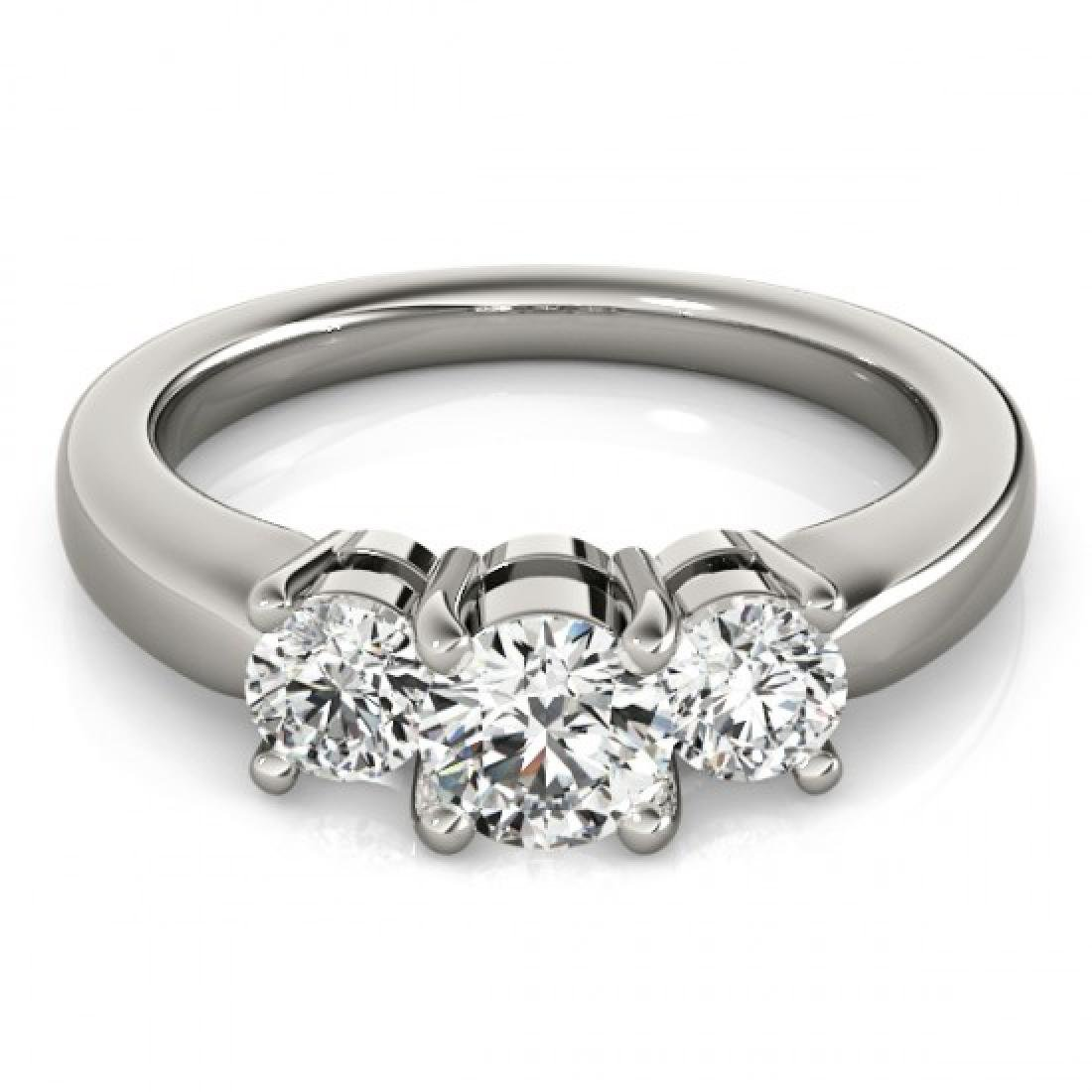 1.33 CTW Certified VS/SI Diamond 3 Stone Ring 14K White