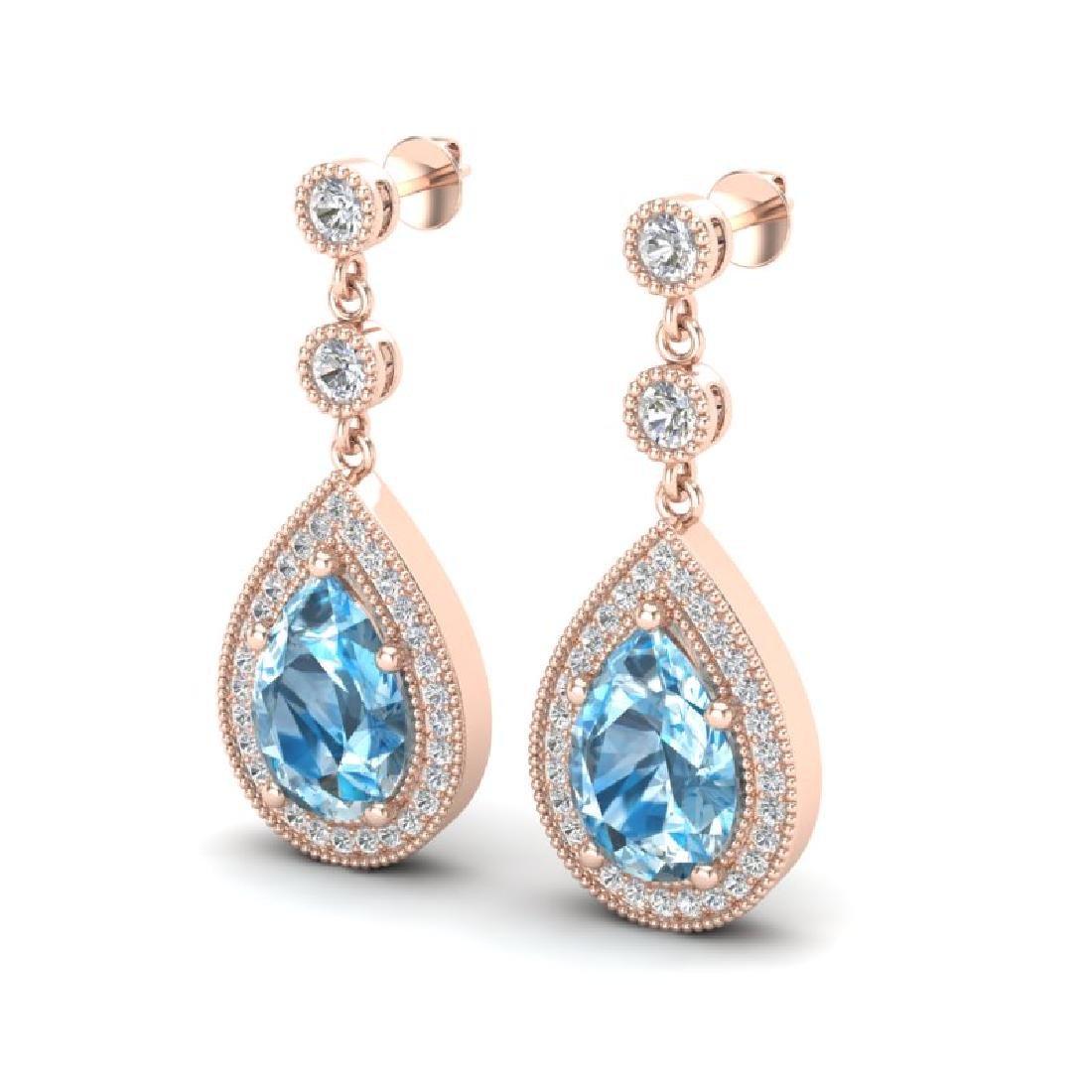 7.50 CTW Sky Topaz & Micro Pave VS/SI Diamond Earrings