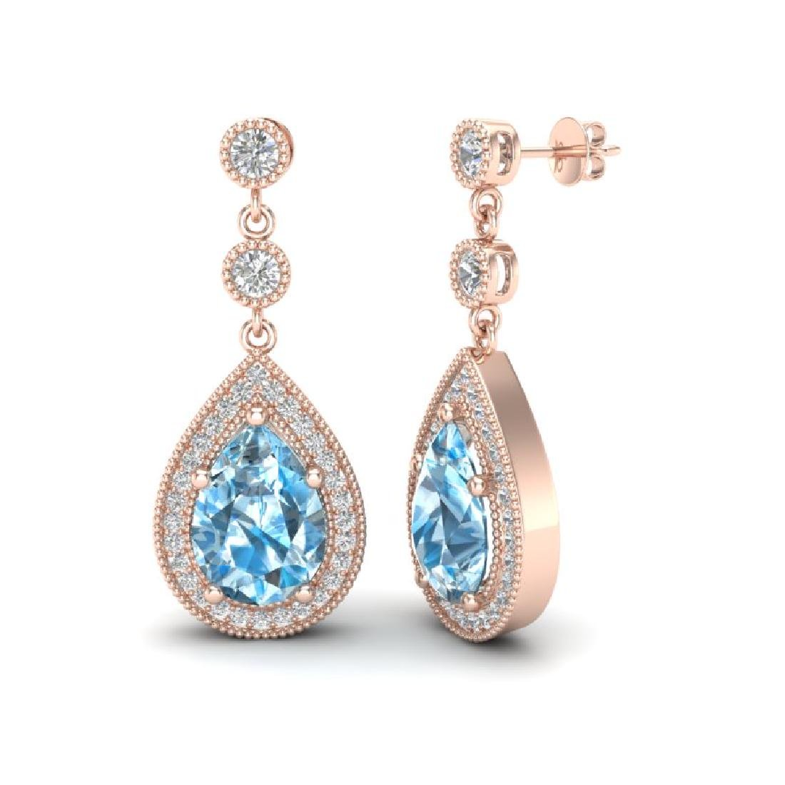 7.50 CTW Sky Topaz & Micro Pave VS/SI Diamond Earrings - 2