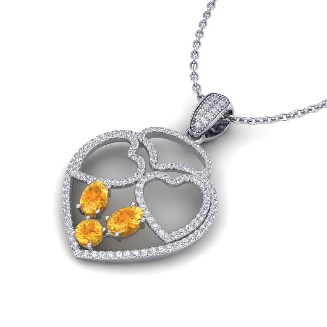 3 CTW Citrine & Micro Pave Designer Inspired Heart