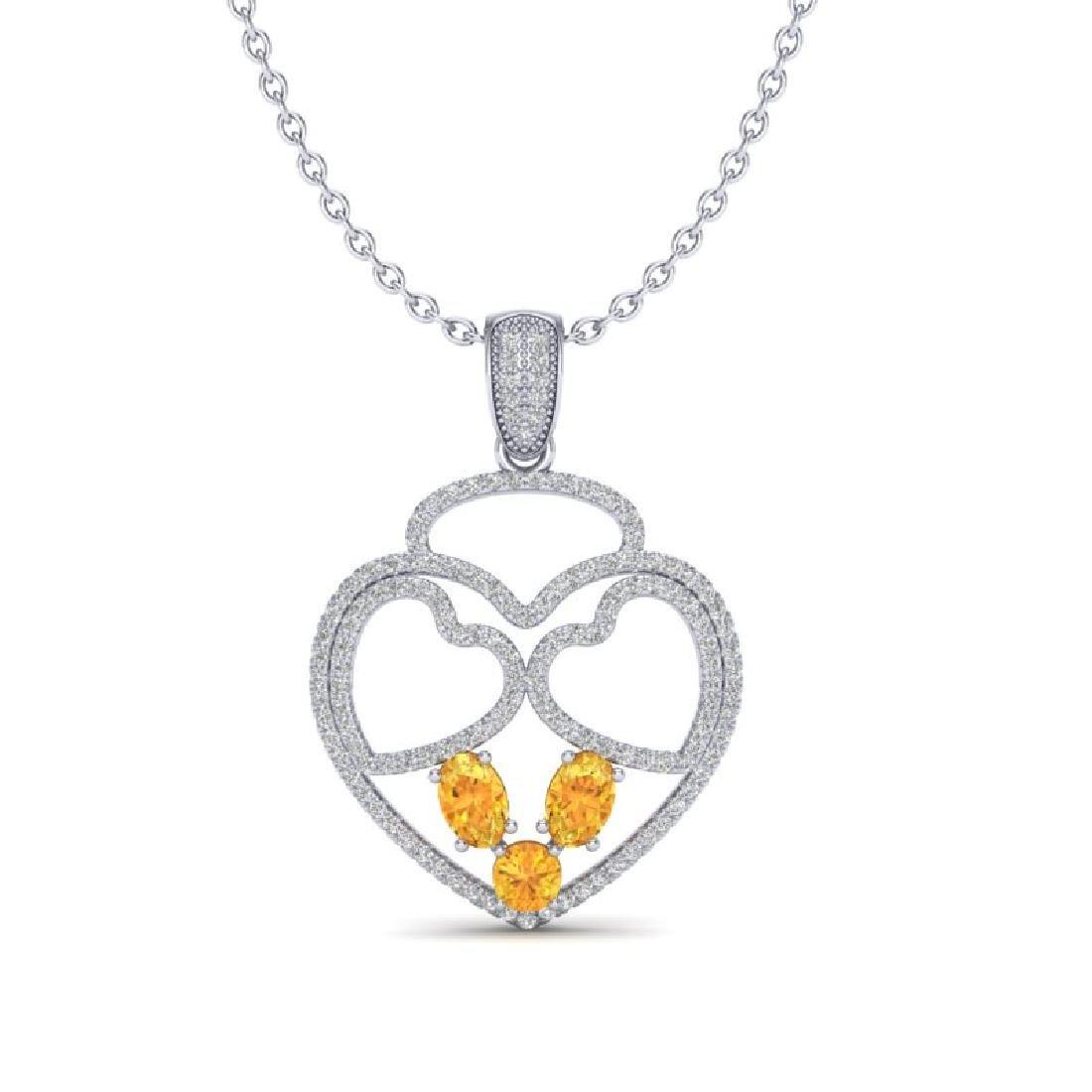 3 CTW Citrine & Micro Pave Designer Inspired Heart - 2