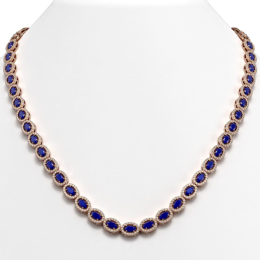 26.38 CTW Sapphire & Diamond Halo Necklace 10K Rose