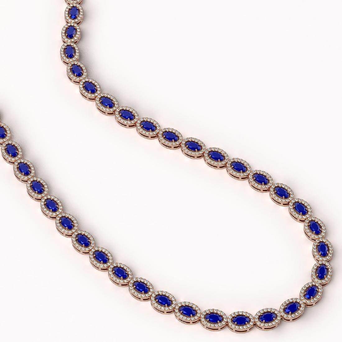 26.38 CTW Sapphire & Diamond Halo Necklace 10K Rose - 2