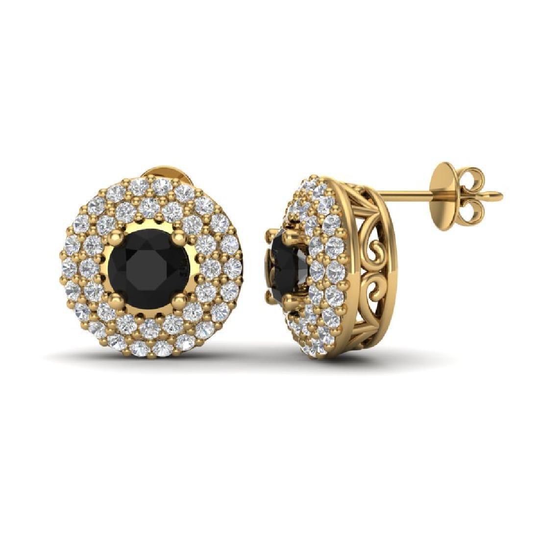 1.40 CTW Micro VS/SI Diamond Designer Earrings 18K - 2