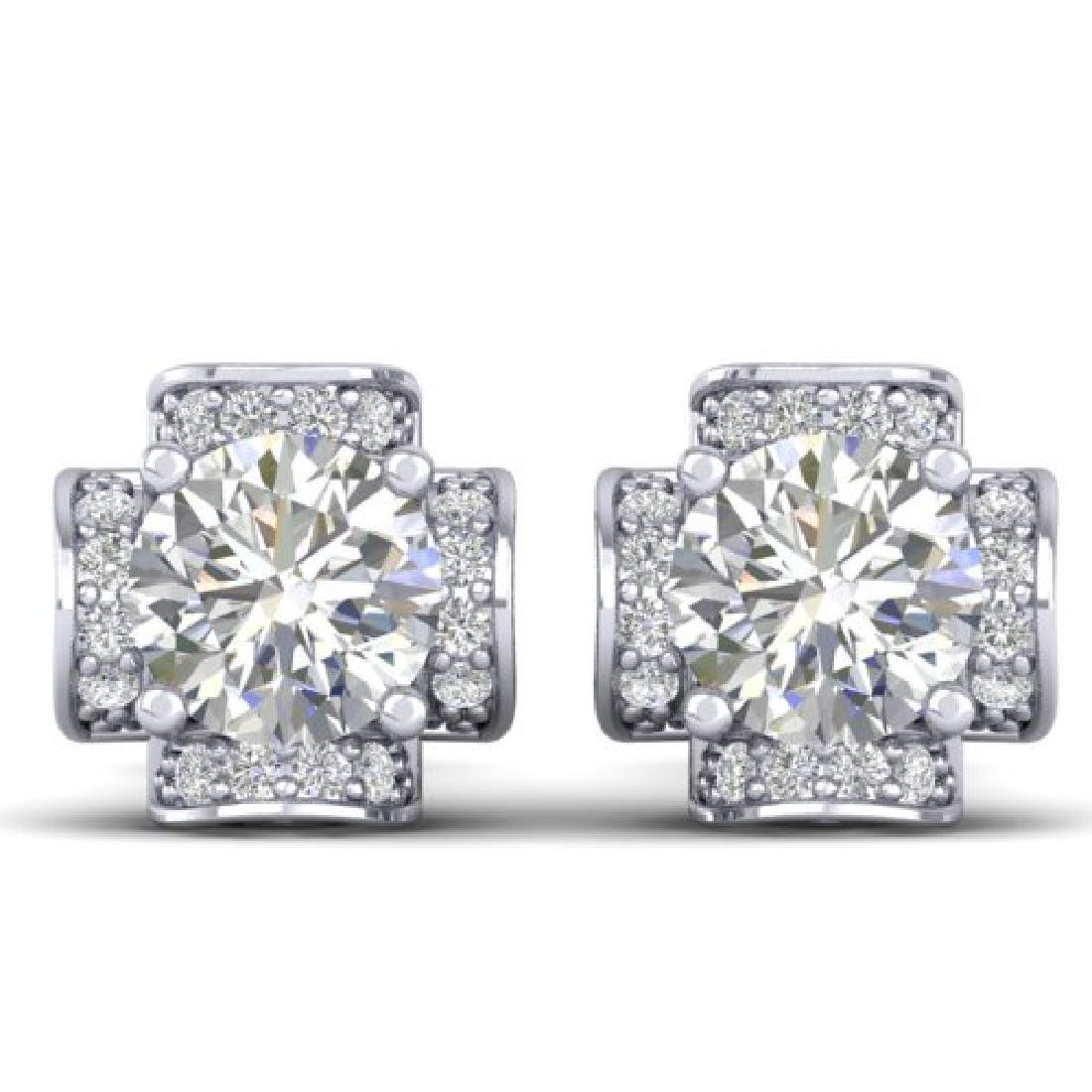 1.85 CTW Certified VS/SI Diamond Art Deco Stud Earrings