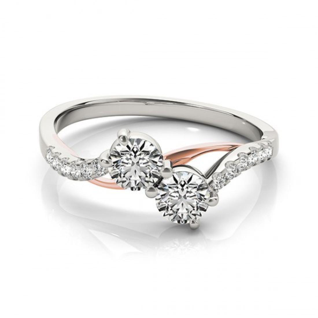 0.85 CTW Certified VS/SI Diamond 2 Stone Ring 14K White