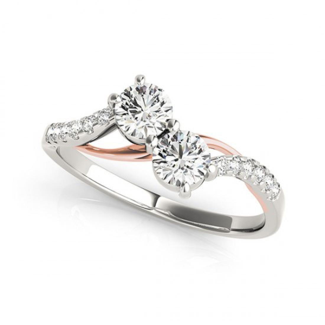 0.85 CTW Certified VS/SI Diamond 2 Stone Ring 14K White - 2