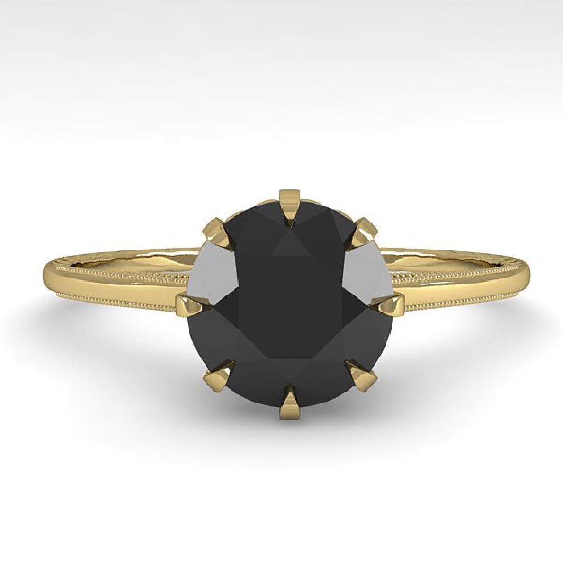 1.50 CTW Black Certified Diamond Solitaire 14K Yellow
