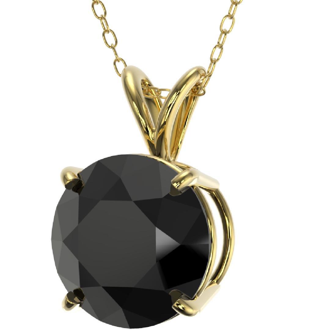 2.50 CTW Fancy Black VS Diamond Solitaire Necklace 10K - 2