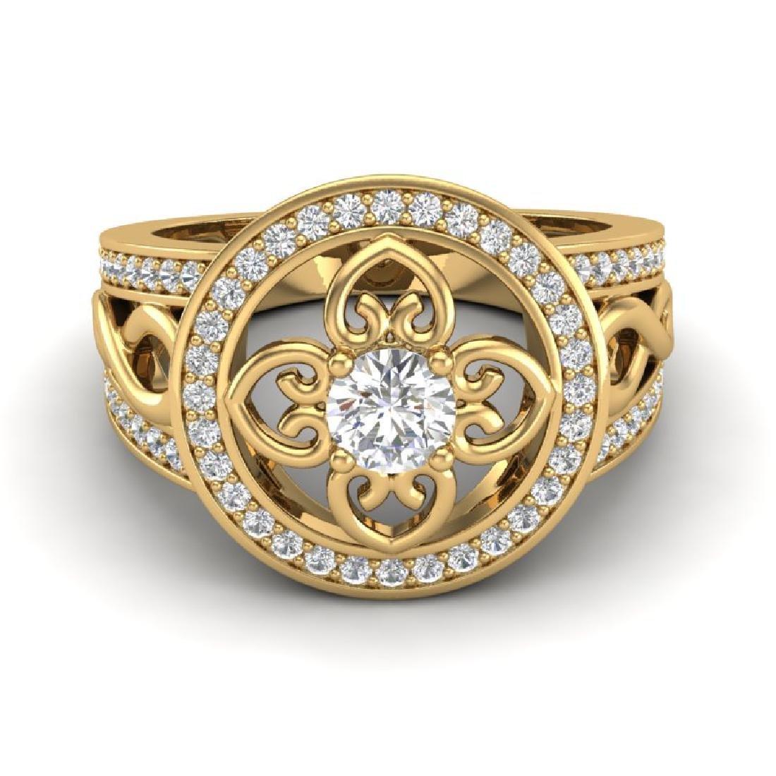 1CTW VS/SI Diamond Micro Pave Designer Ring 18K Yellow