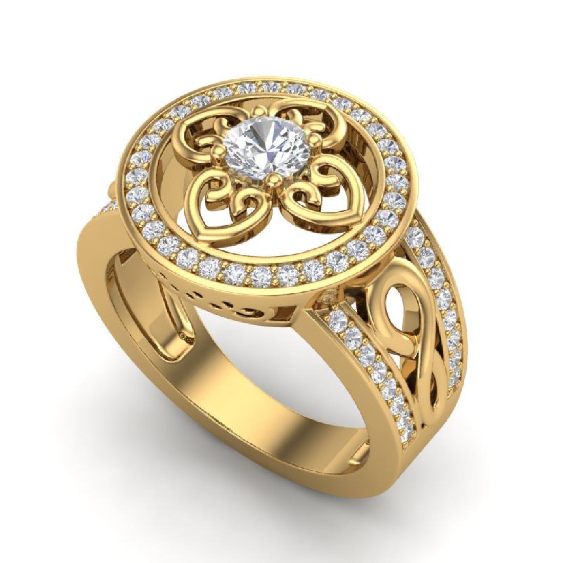 1CTW VS/SI Diamond Micro Pave Designer Ring 18K Yellow - 2