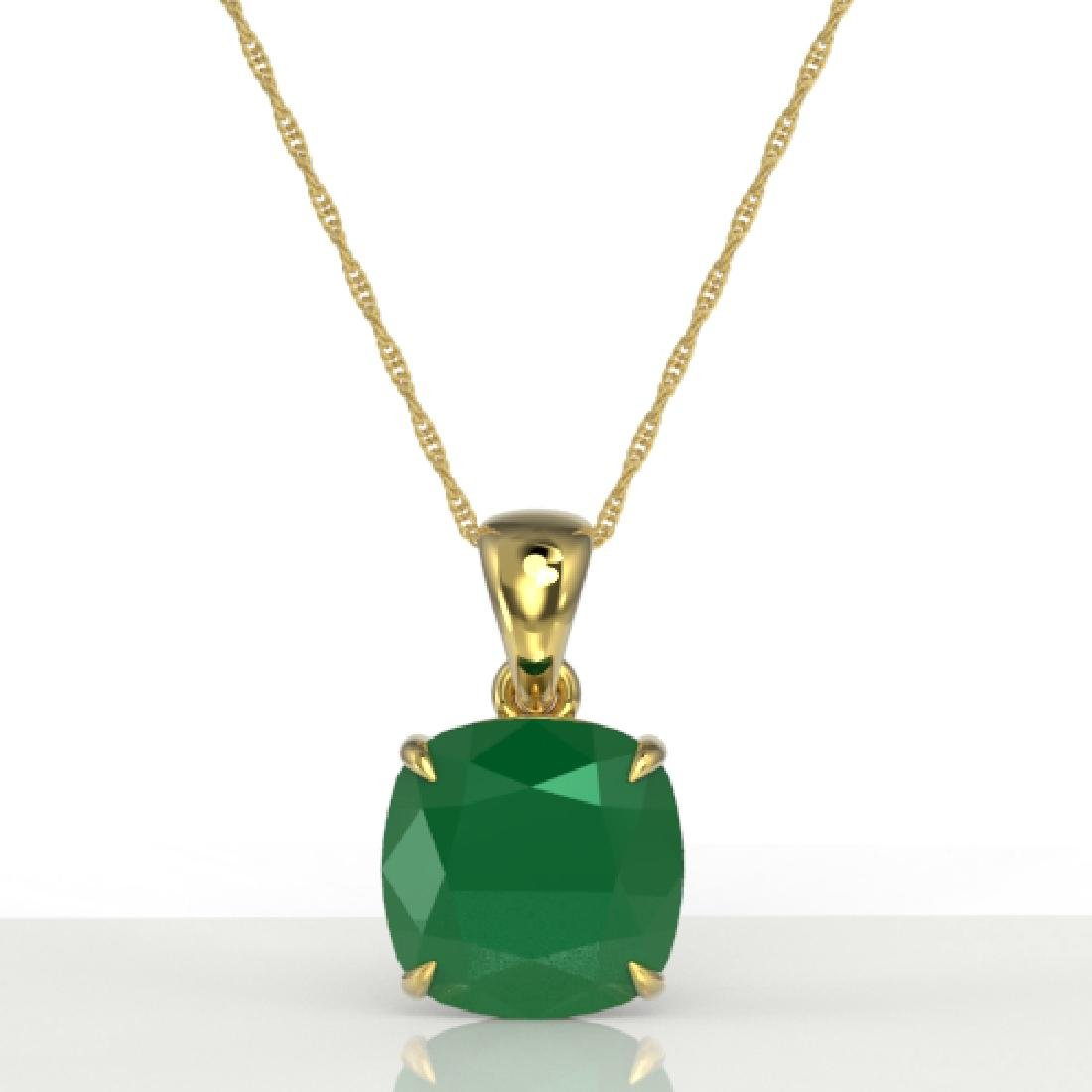 6 CTW Cushion Cut Emerald Designer Solitaire necklace