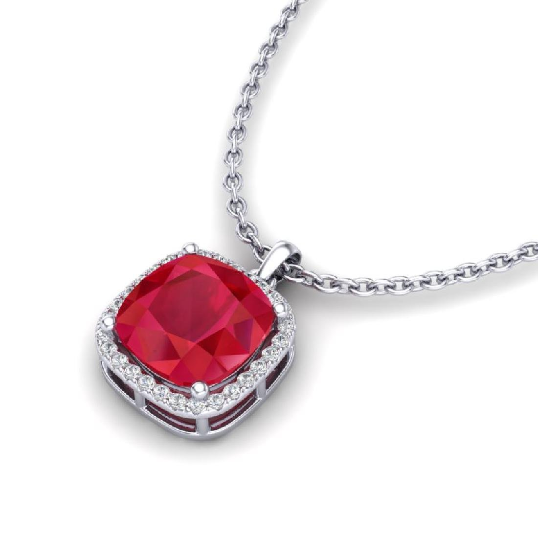 6 CTW Ruby & Micro Pave Halo VS/SI Diamond Necklace
