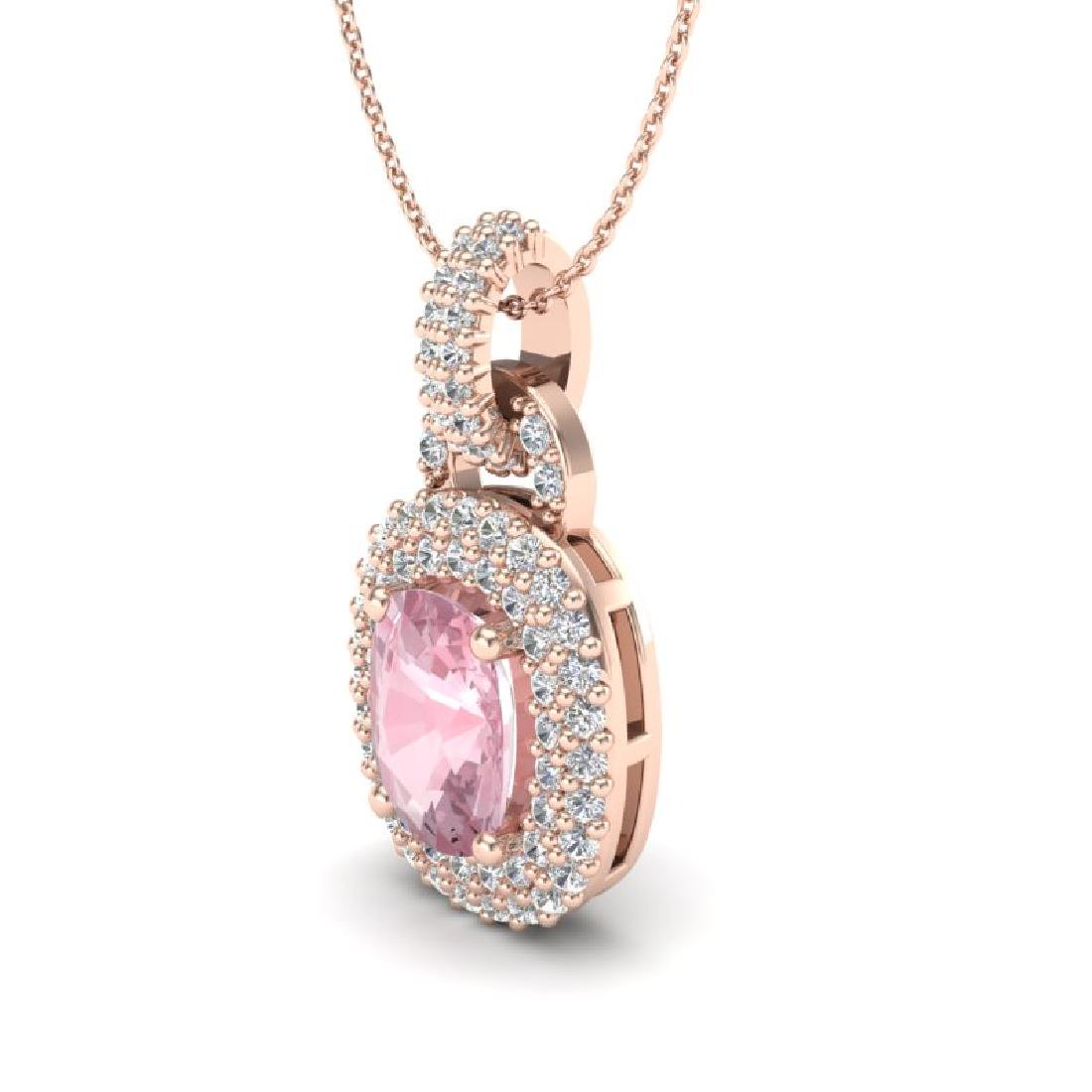 2.50 CTW Morganite & Micro Pave VS/SI Diamond Necklace - 2