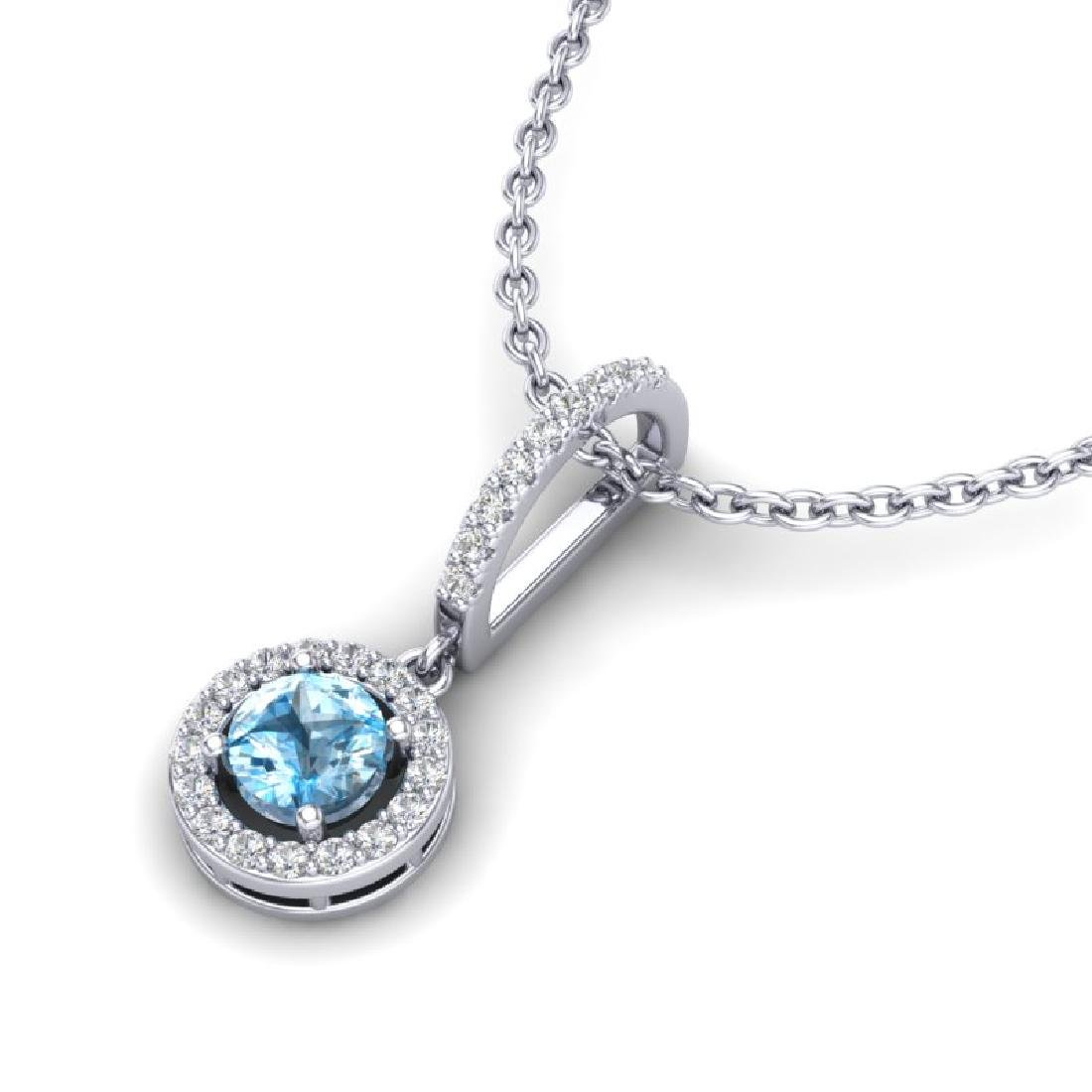 1 CTW Topaz & Micro Halo VS/SI Diamond Necklace 18K