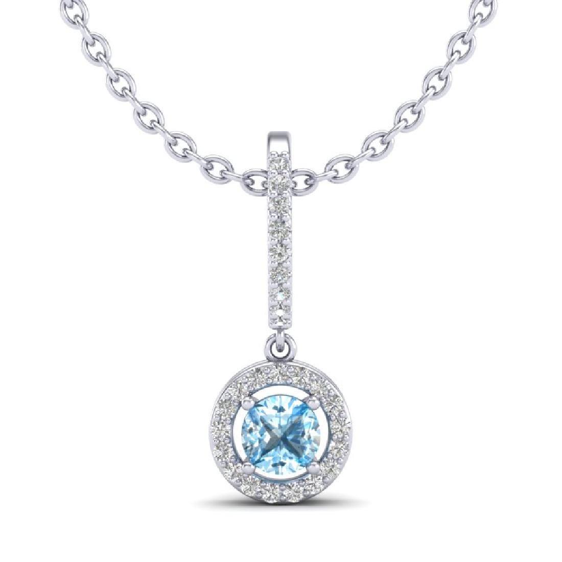 1 CTW Topaz & Micro Halo VS/SI Diamond Necklace 18K - 2