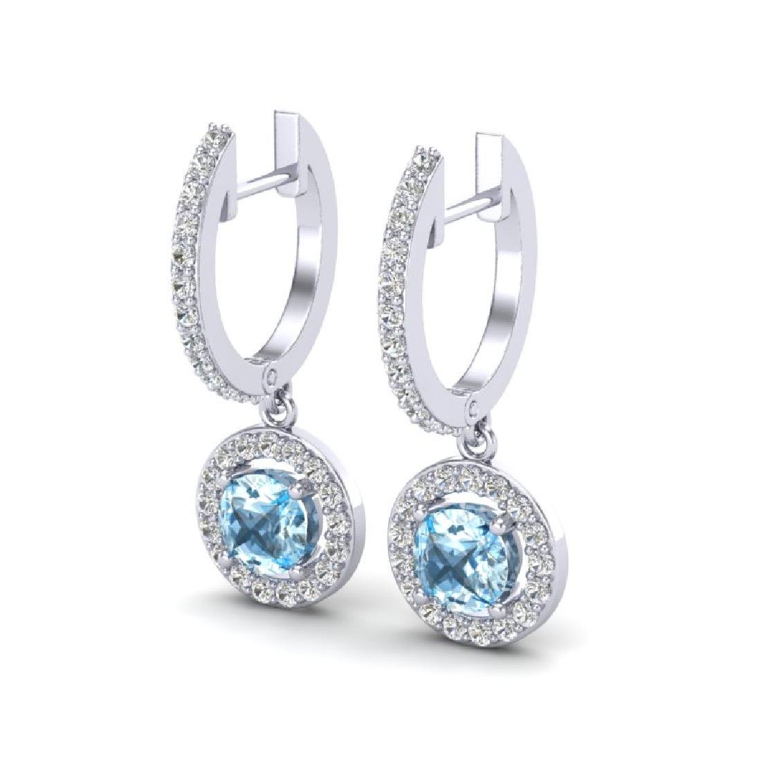 1.75 CTW Sky Topaz & Micro Pave Halo VS/SI Diamond