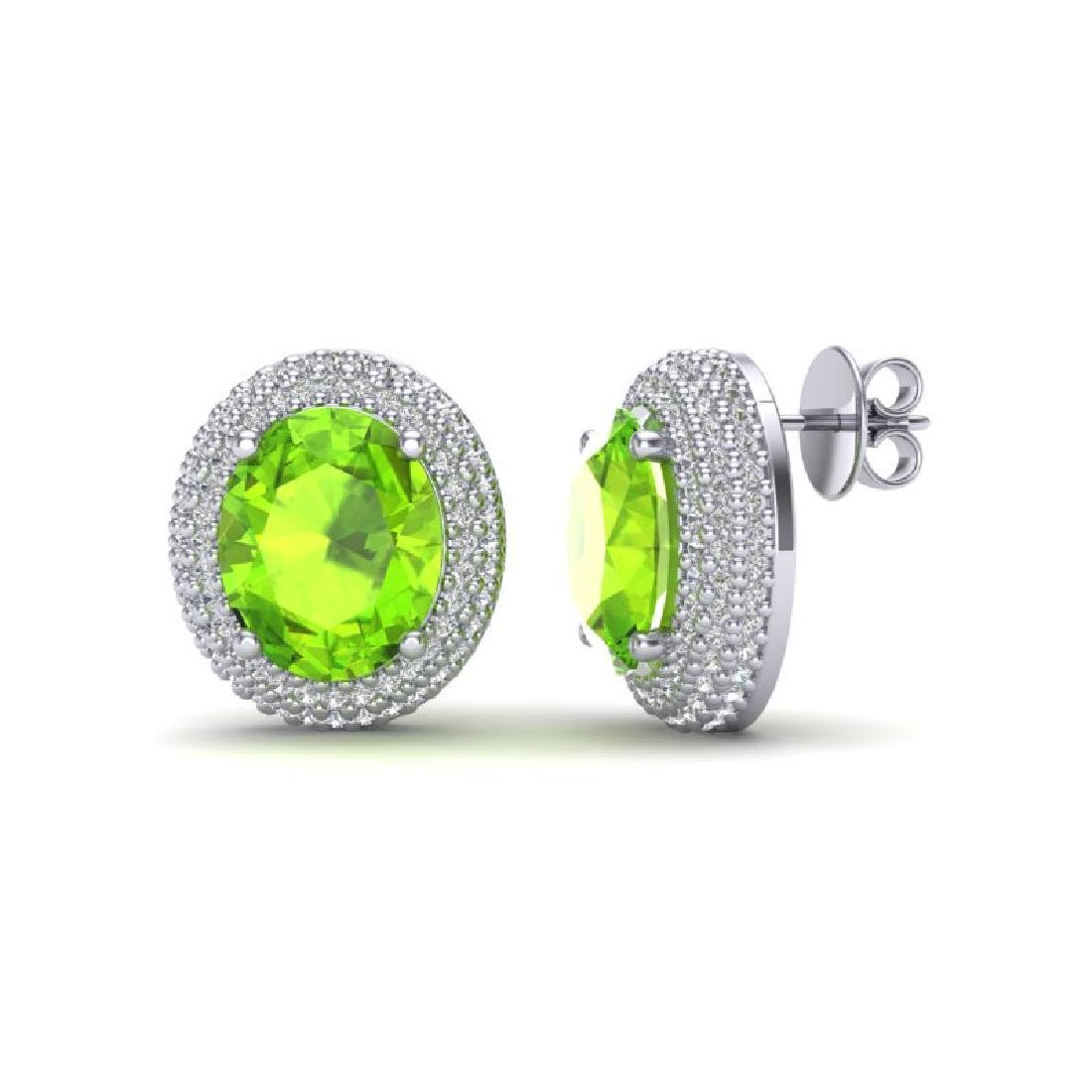 9 CTW Peridot & Micro Pave VS/SI Diamond Earrings 18K - 2