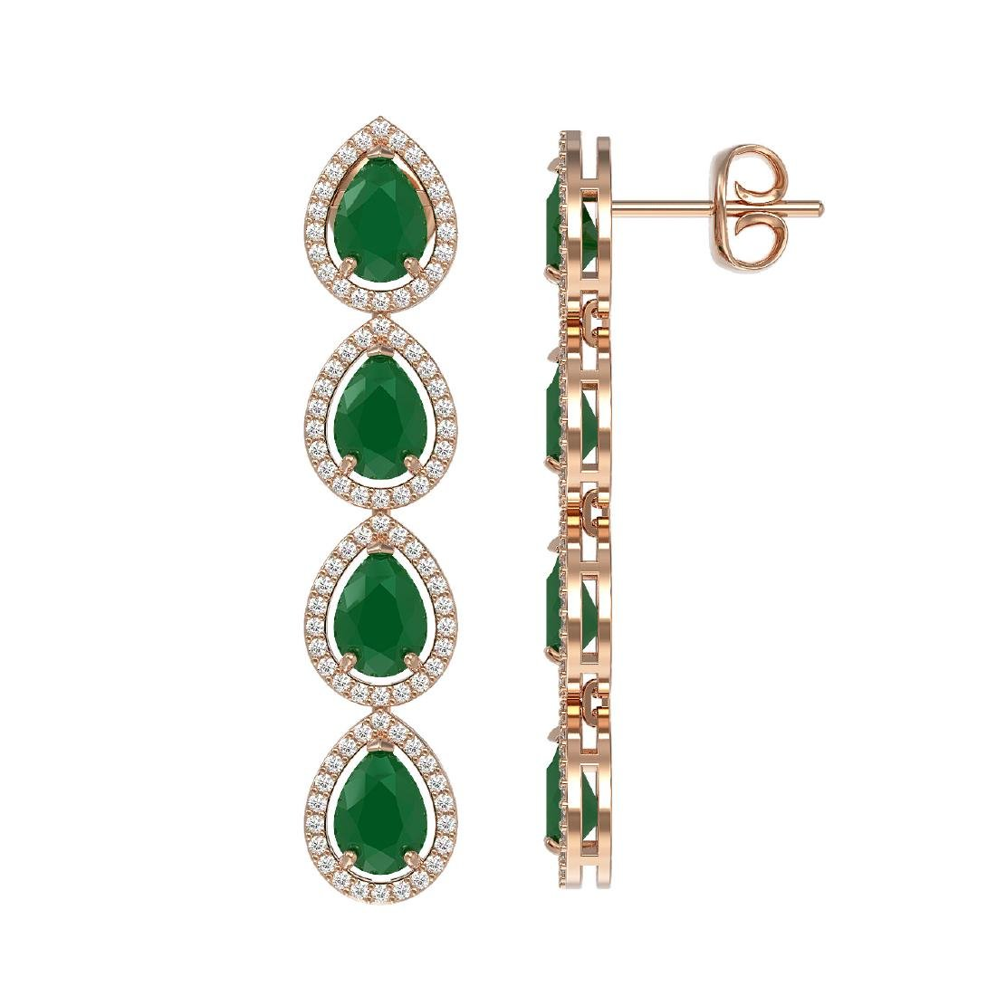 10.2 CTW Emerald & Diamond Halo Earrings 10K Rose Gold - 2