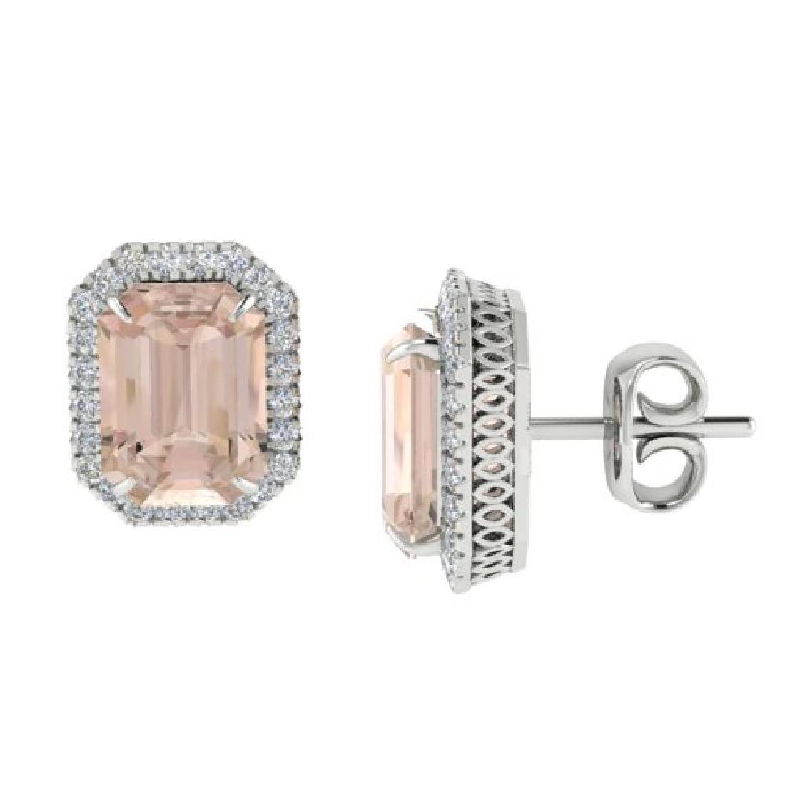 8.40 CTW Morganite & Micro Pave VS/SI Diamond Halo - 2