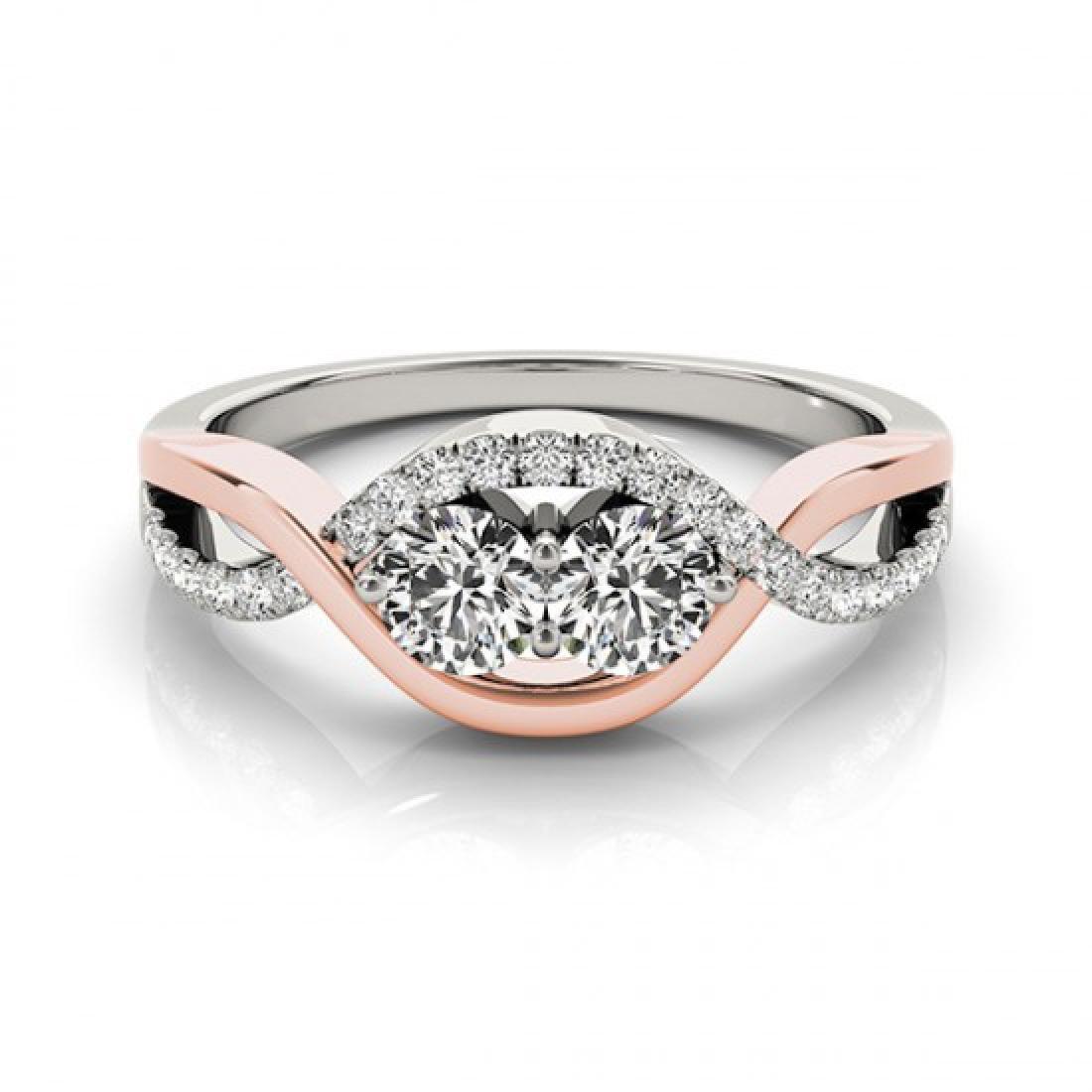 0.88 CTW Certified VS/SI Diamond 2 Stone Ring 14K White