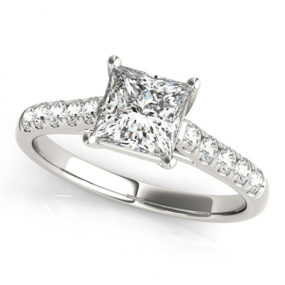 1.3 CTW Certified VS/SI Princess Diamond Ring 14K White