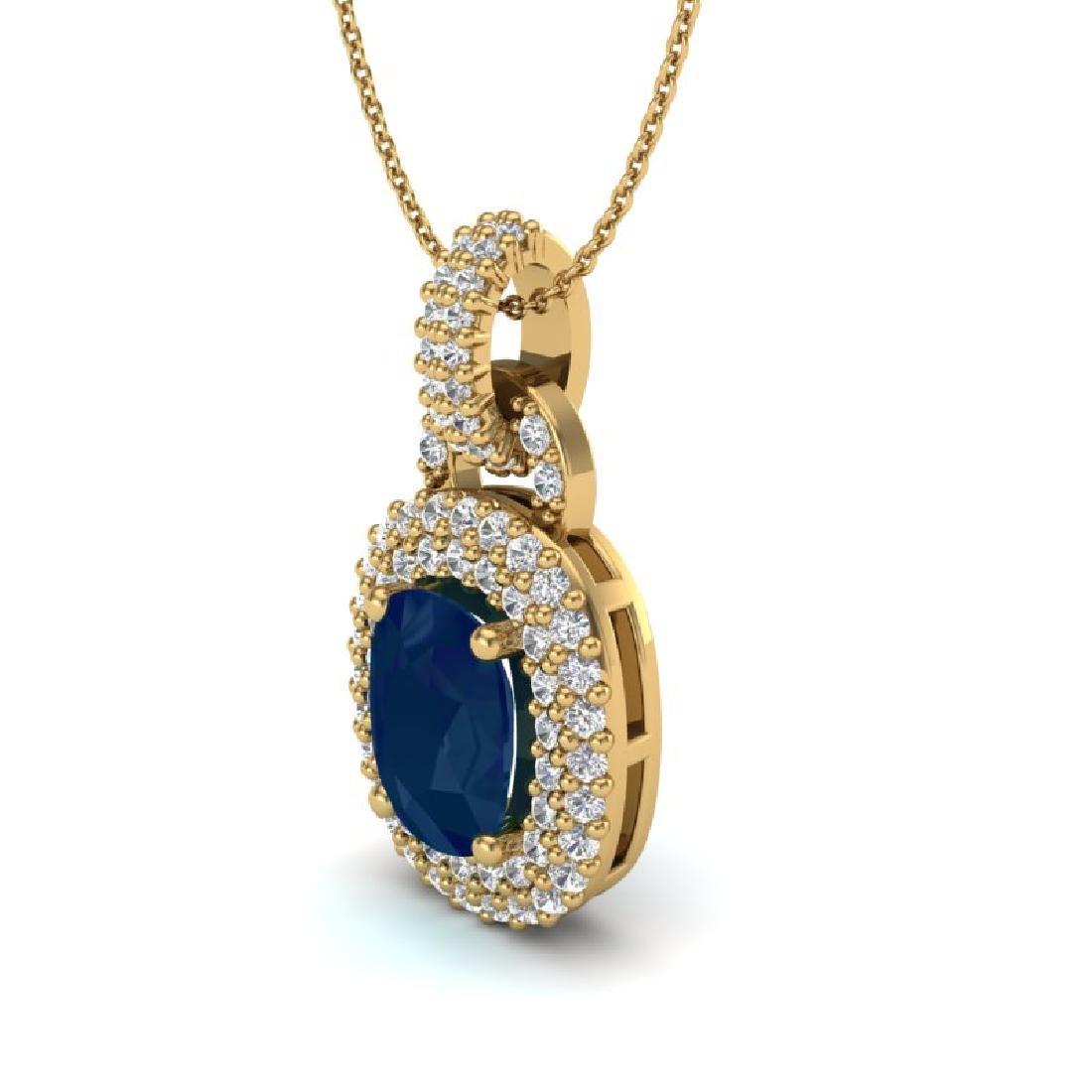 2.50 CTW Sapphire & Micro Pave VS/SI Diamond Necklace - 2