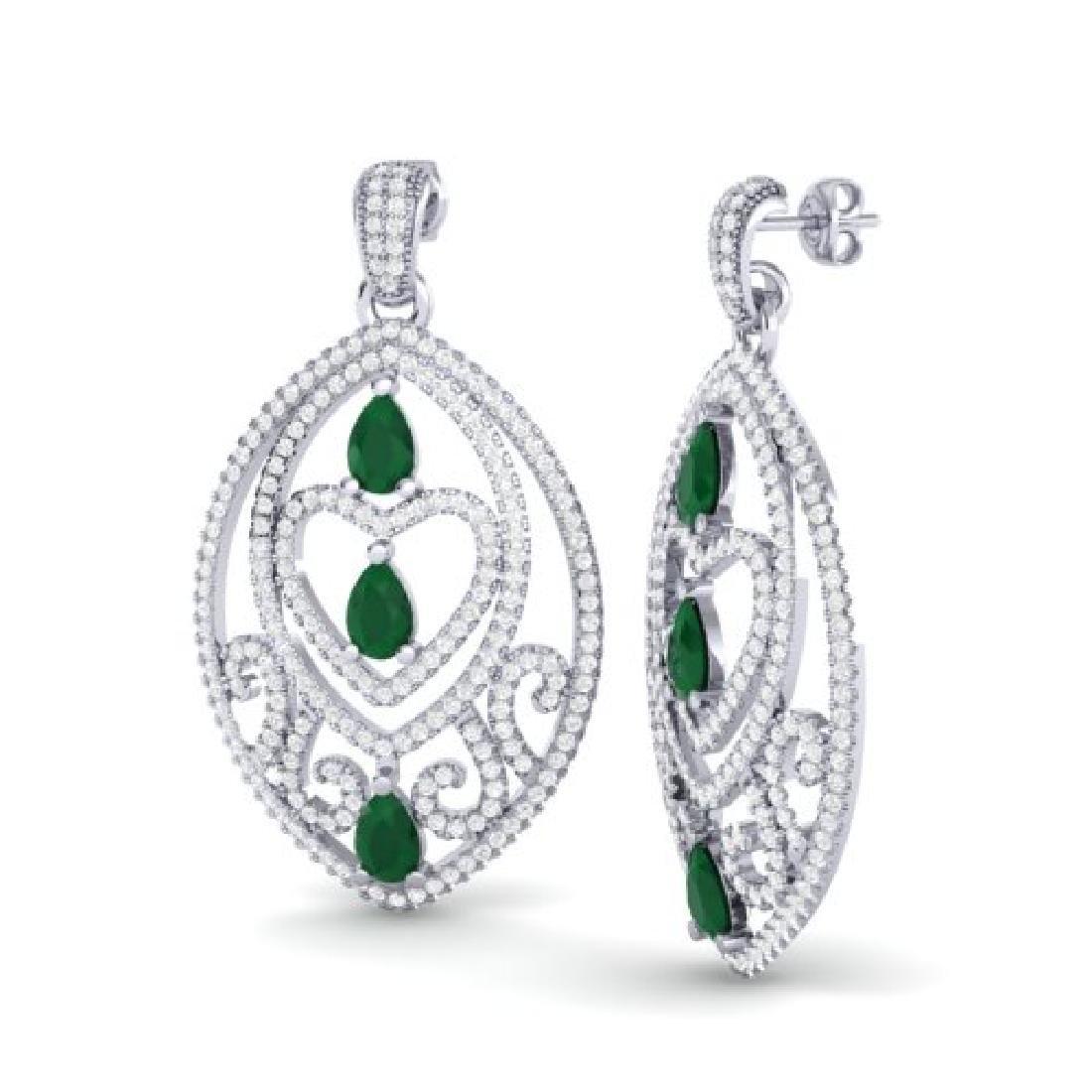 7 CTW Emerald & Micro Pave VS/SI Diamond Heart Earrings - 2