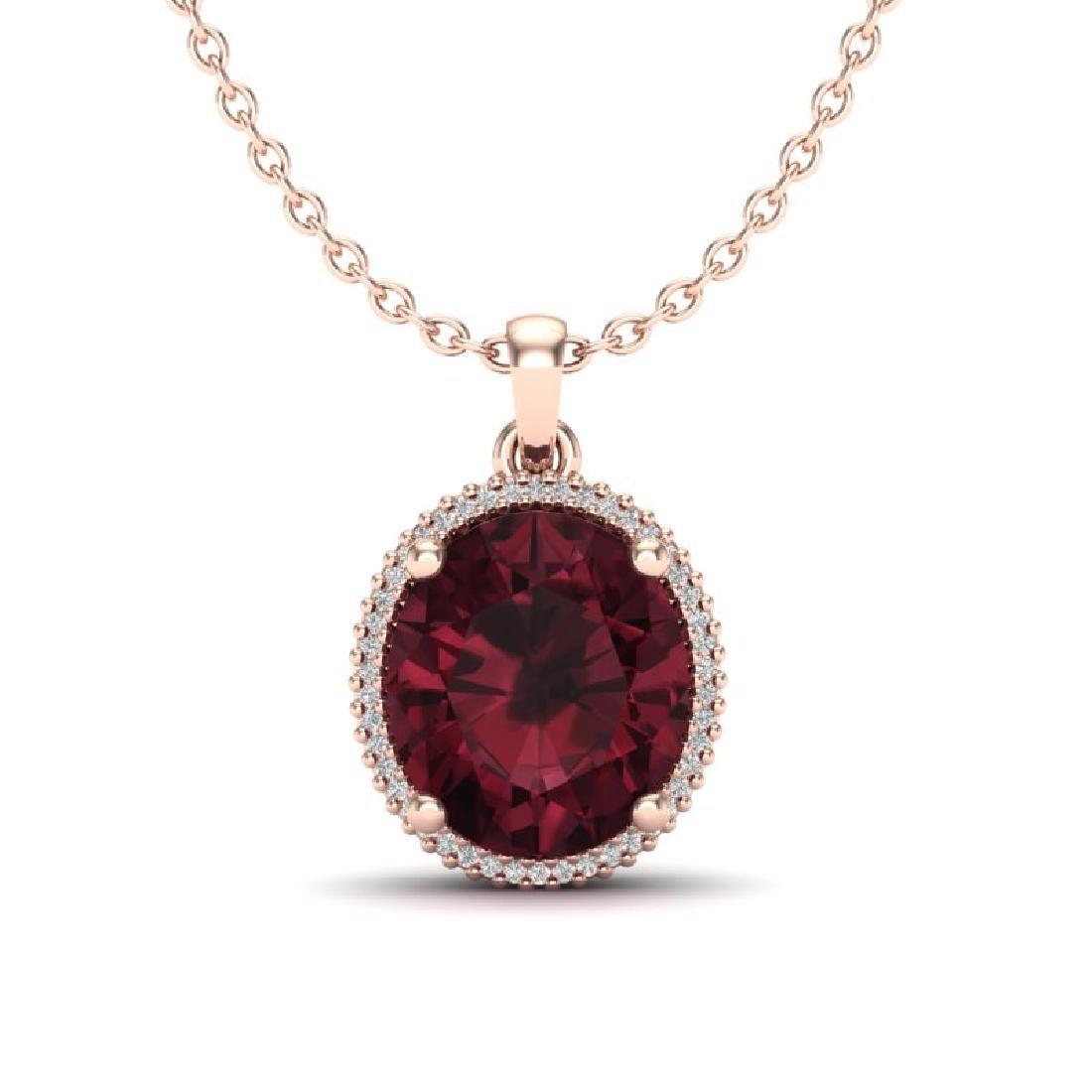 11 CTW Garnet & Micro Pave VS/SI Diamond Halo Necklace
