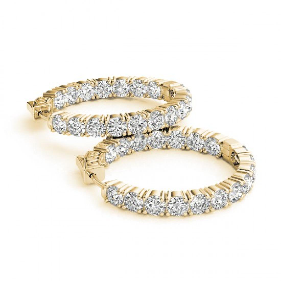 3.5 CTW Diamond VS/SI Certified 22 Mm Hoop Earrings 14K