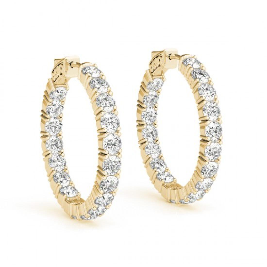 3.5 CTW Diamond VS/SI Certified 22 Mm Hoop Earrings 14K - 2
