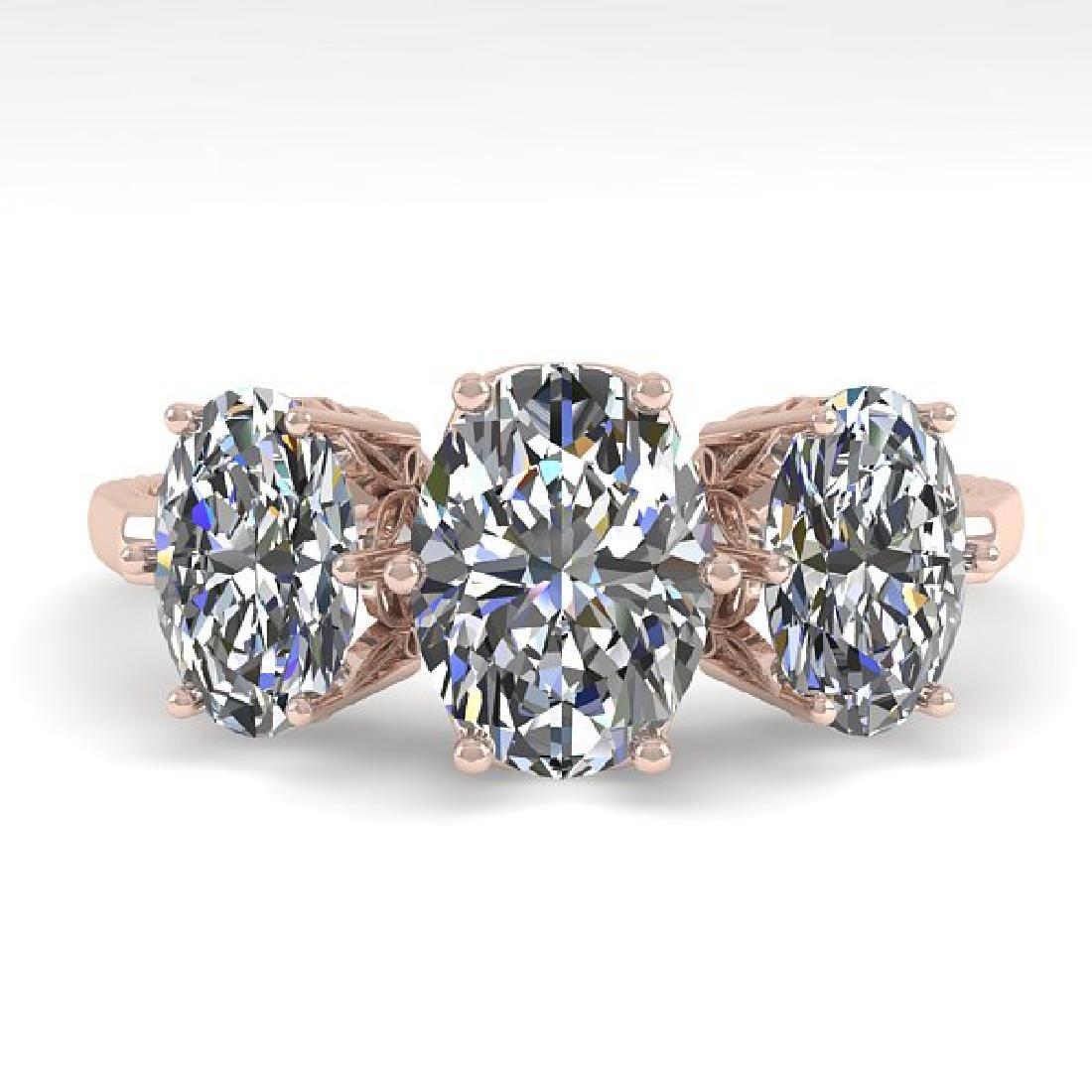 2.0 CTW VS/SI Oval Diamond Art Deco Ring 14K Rose Gold
